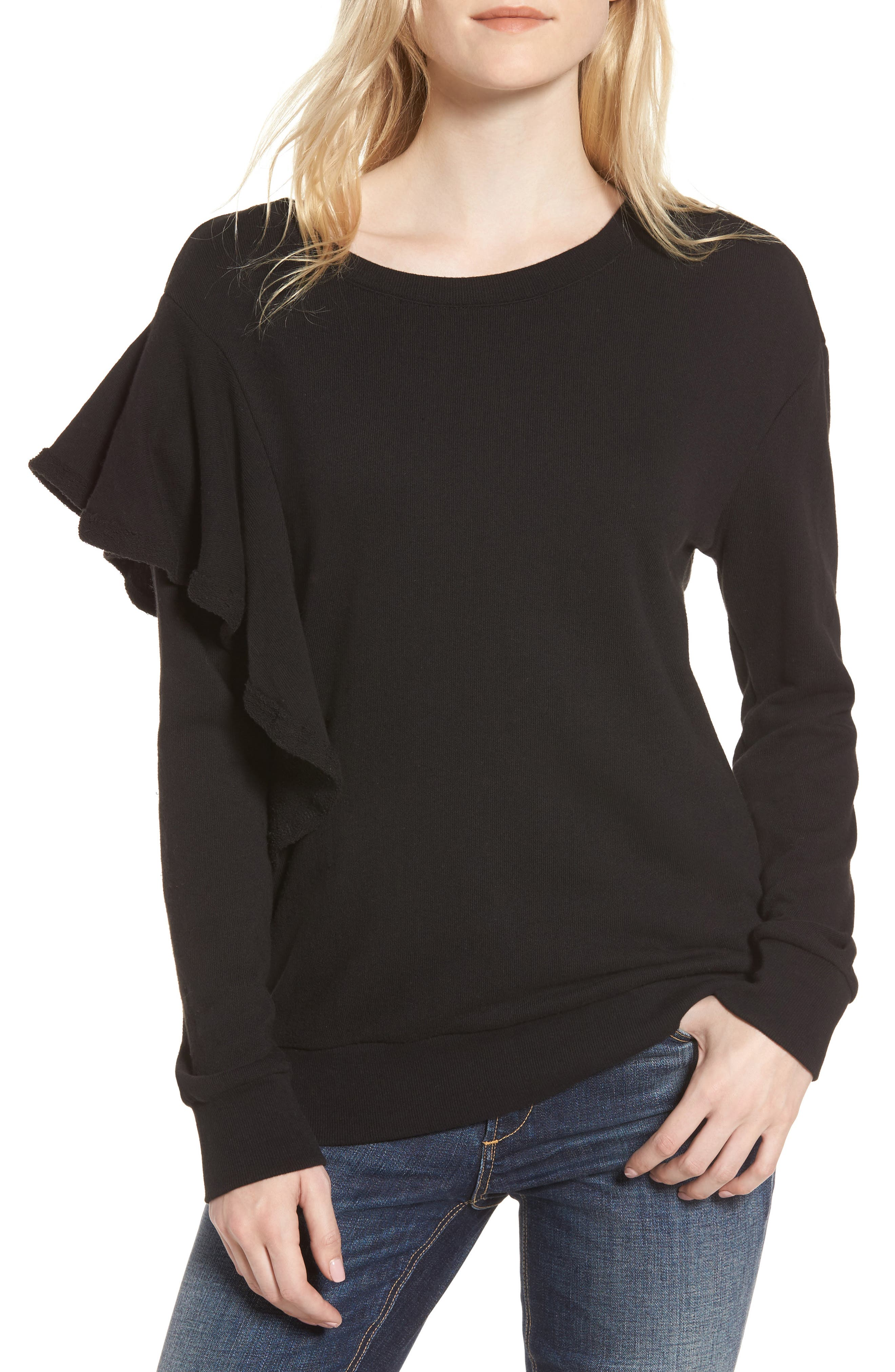 West Fourth Ruffle Sweatshirt,                             Main thumbnail 1, color,                             001