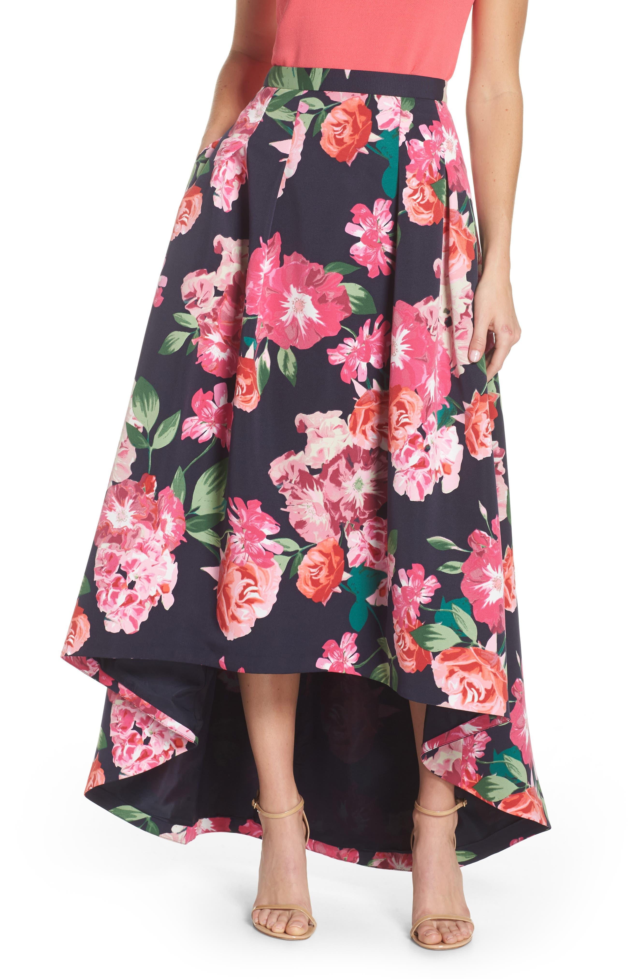 ELIZA J,                             Floral High/Low Skirt,                             Main thumbnail 1, color,                             411