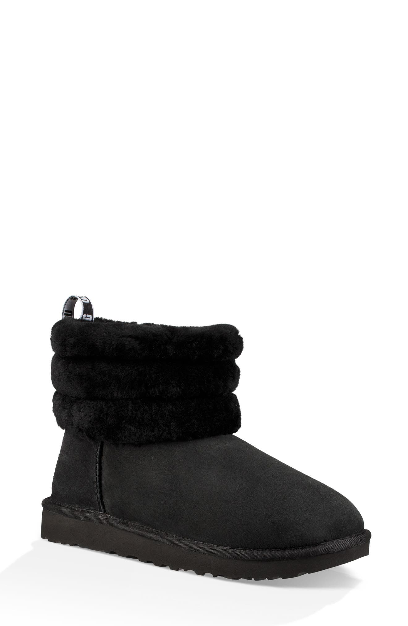 Classic Mini Fluff Quilted Boot,                             Main thumbnail 1, color,                             BLACK SUEDE