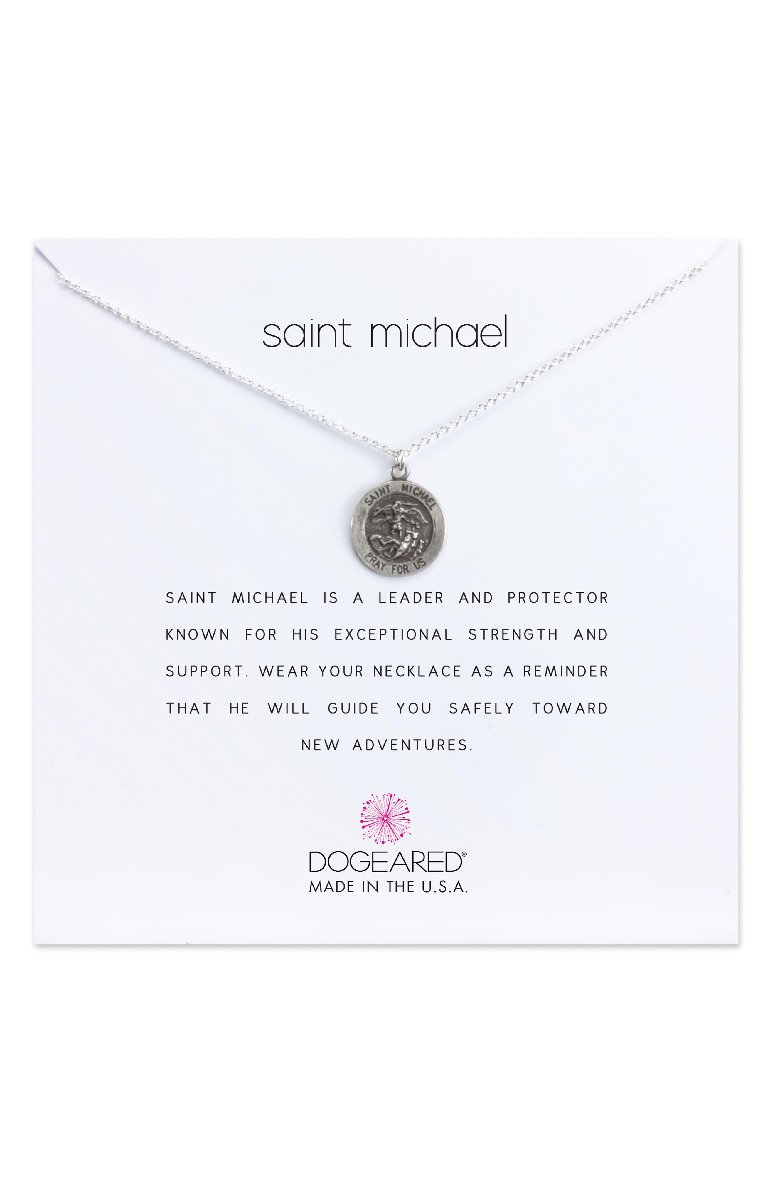 Saint Michael Pendant Necklace,                             Main thumbnail 1, color,                             042