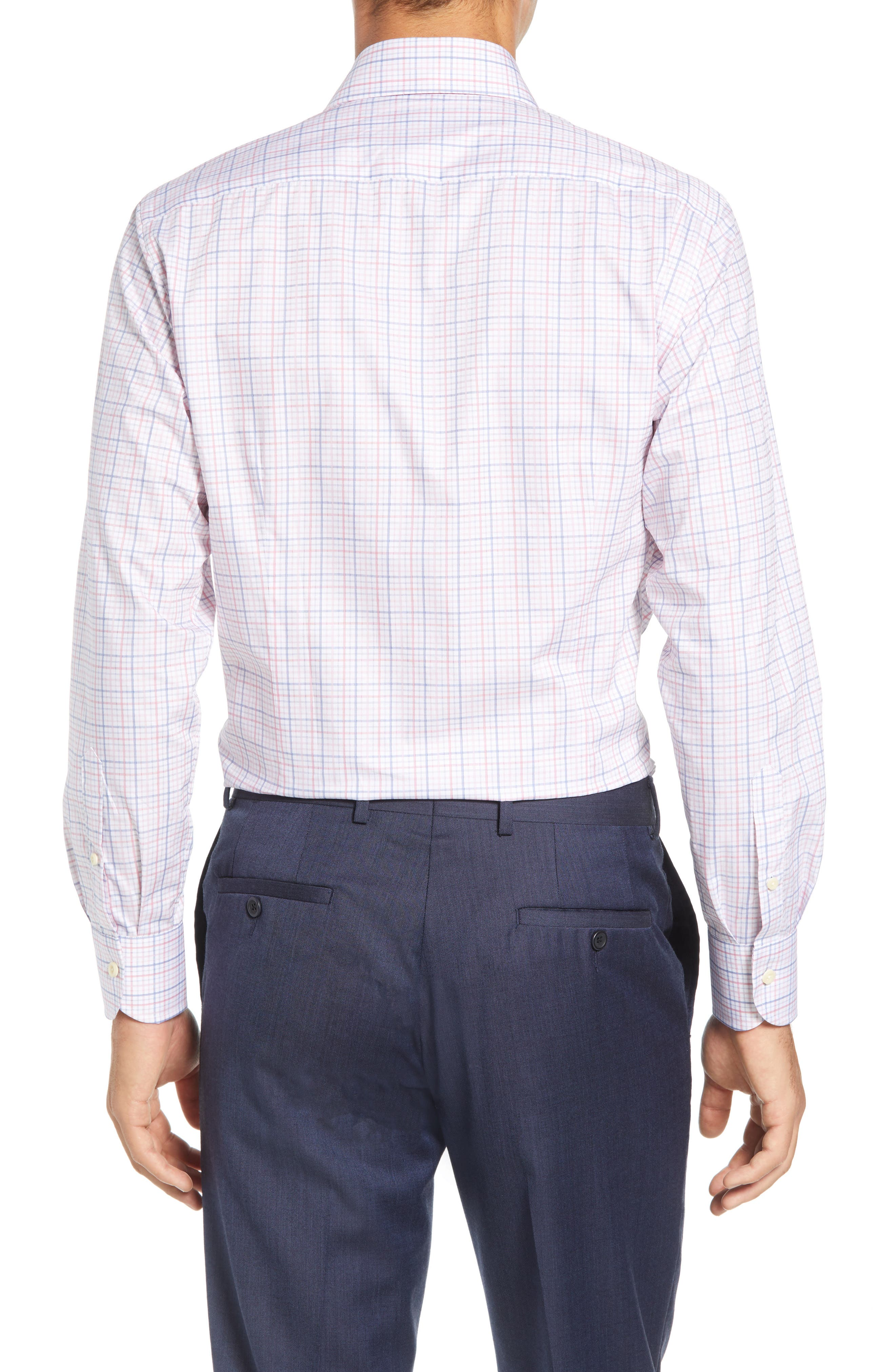 Drazin Trim Fit Check Dress Shirt,                             Alternate thumbnail 3, color,                             PINK