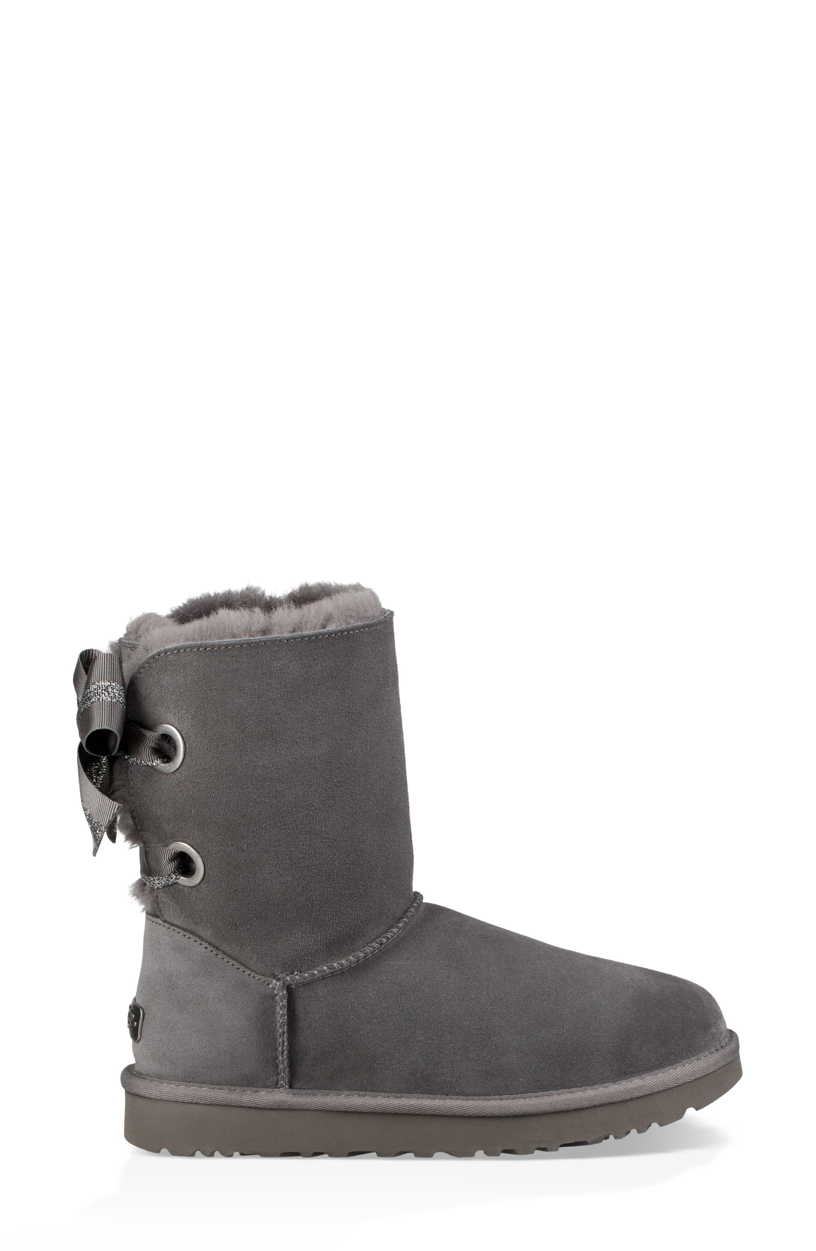 Customizable Bailey Bow Genuine Shearling Bootie,                             Alternate thumbnail 3, color,                             CHARCOAL SUEDE