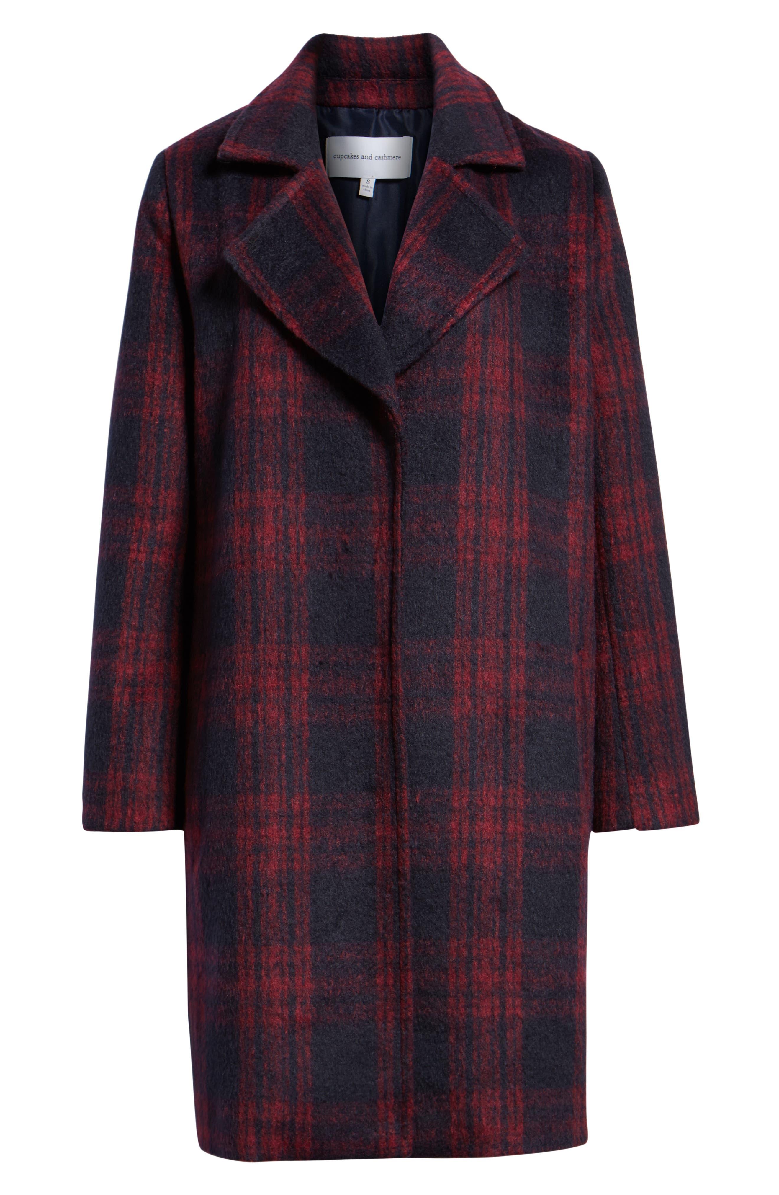 Brushed Plaid Coat,                             Alternate thumbnail 6, color,                             RED VELVET