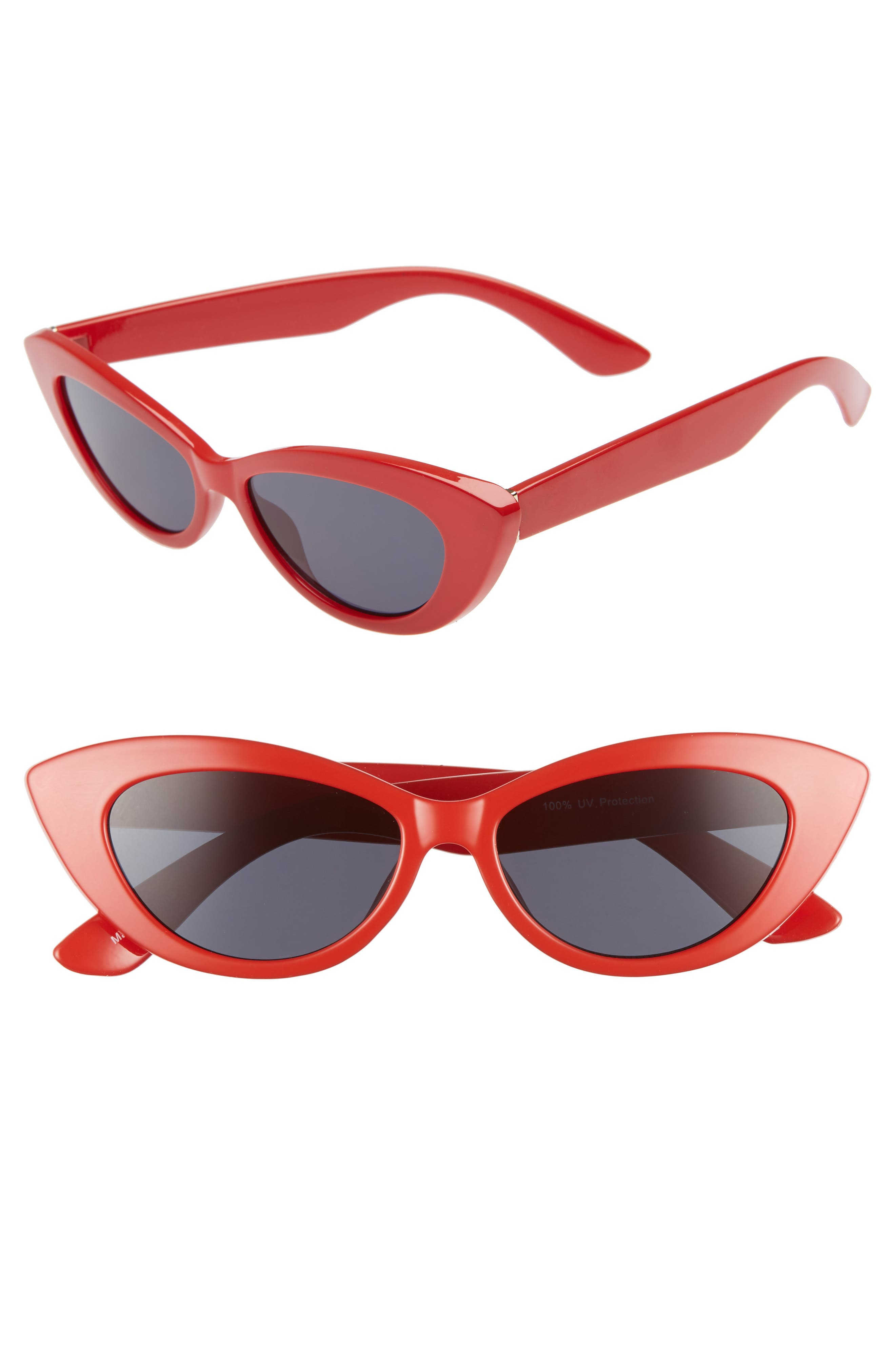 51mm Cat Eye Sunglasses,                             Main thumbnail 1, color,                             RED