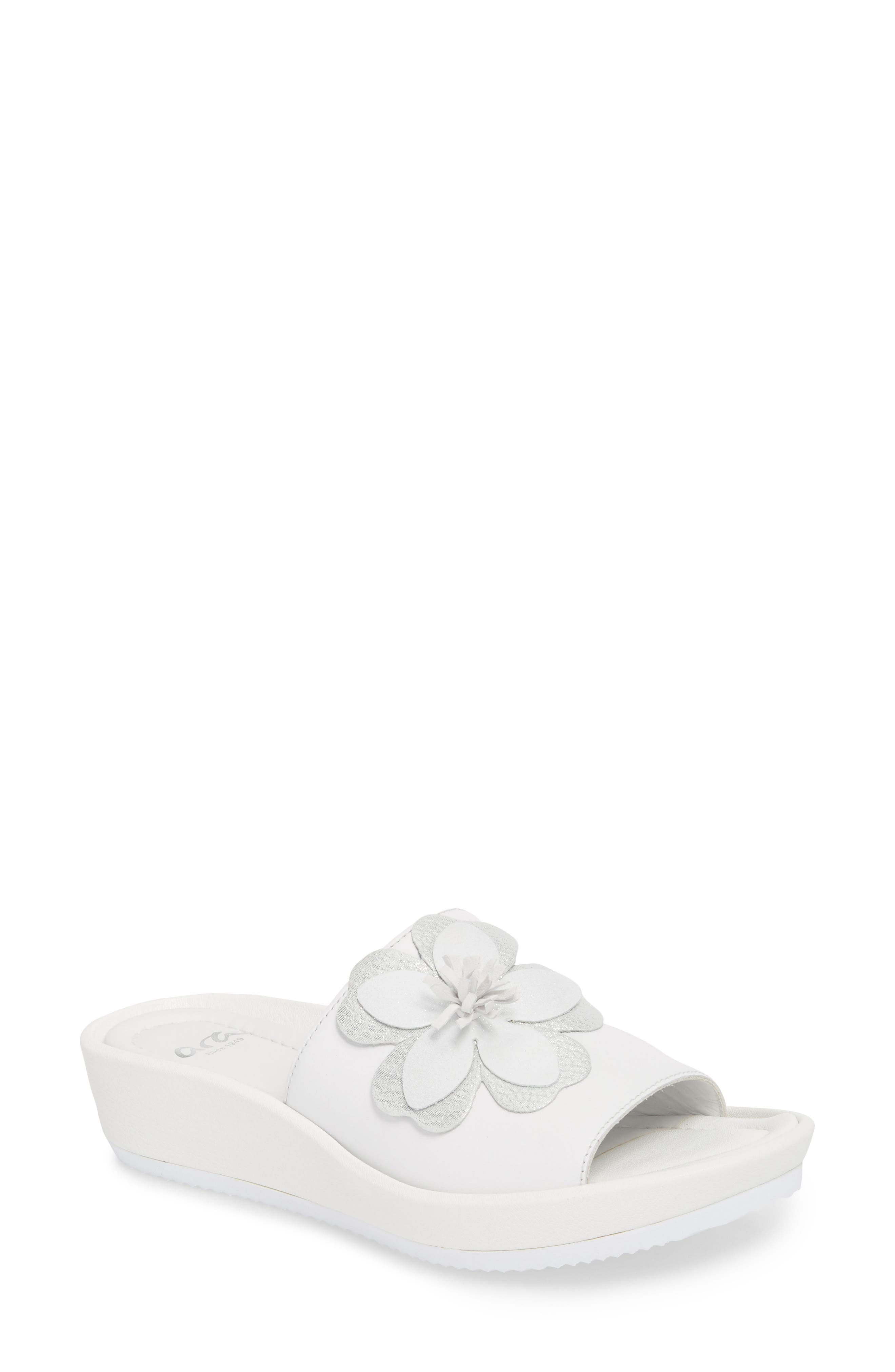 Thea Wedge Slide Sandal,                         Main,                         color, WHITE LEATHER