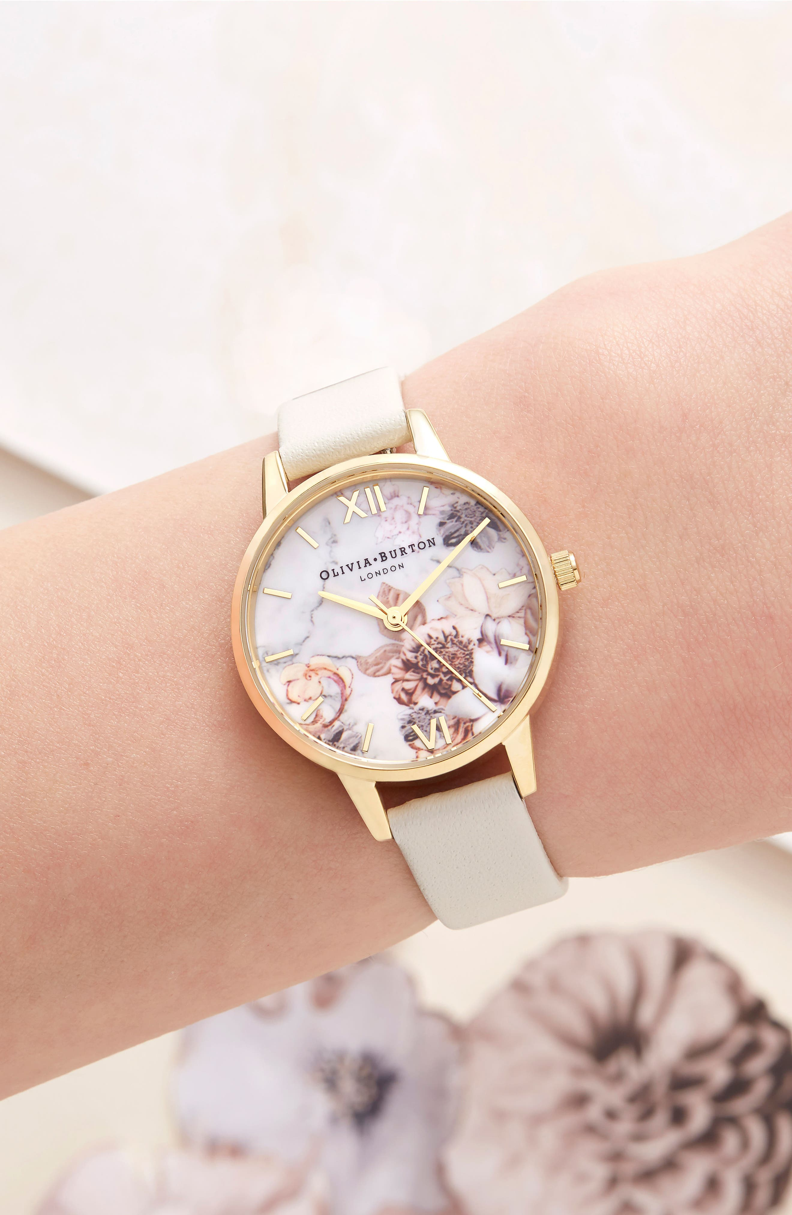 Marble Floral Leather Strap Watch, 30mm,                             Alternate thumbnail 6, color,                             NUDE/ WHITE FLORAL/ GOLD