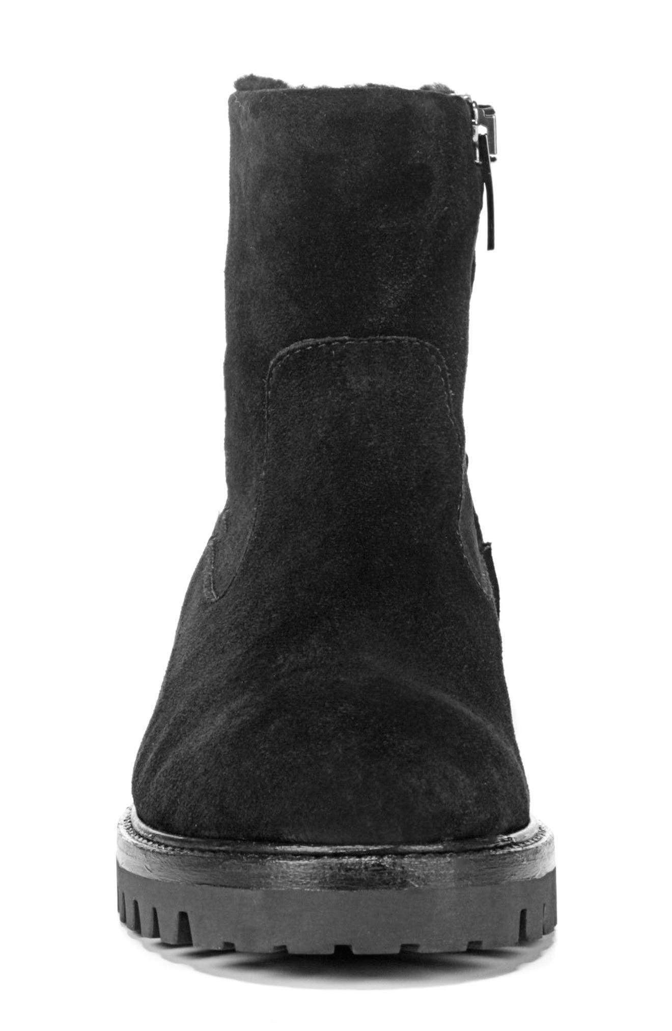 Frances Genuine Shearling Lug Boot,                             Alternate thumbnail 4, color,                             003