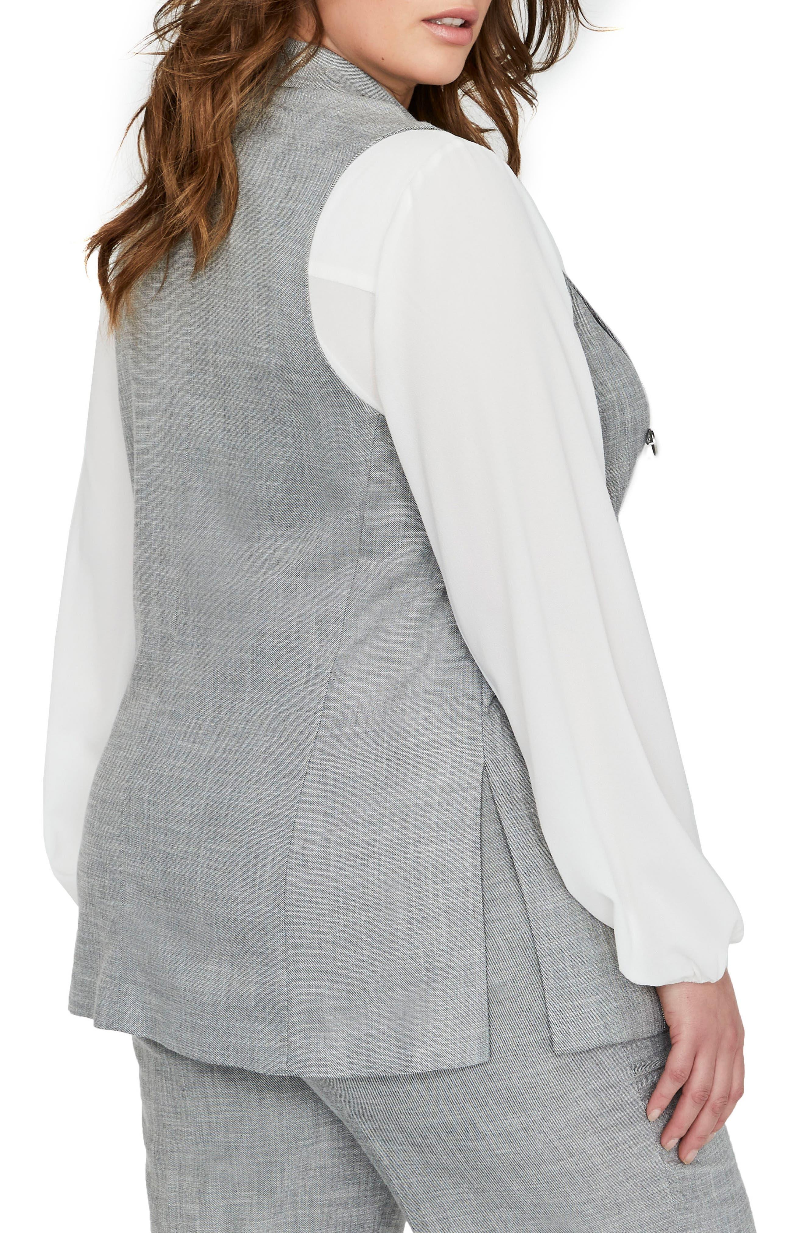 Peak Collar Vest,                             Alternate thumbnail 2, color,                             BLACK/ WHITE YARN DYE- SW