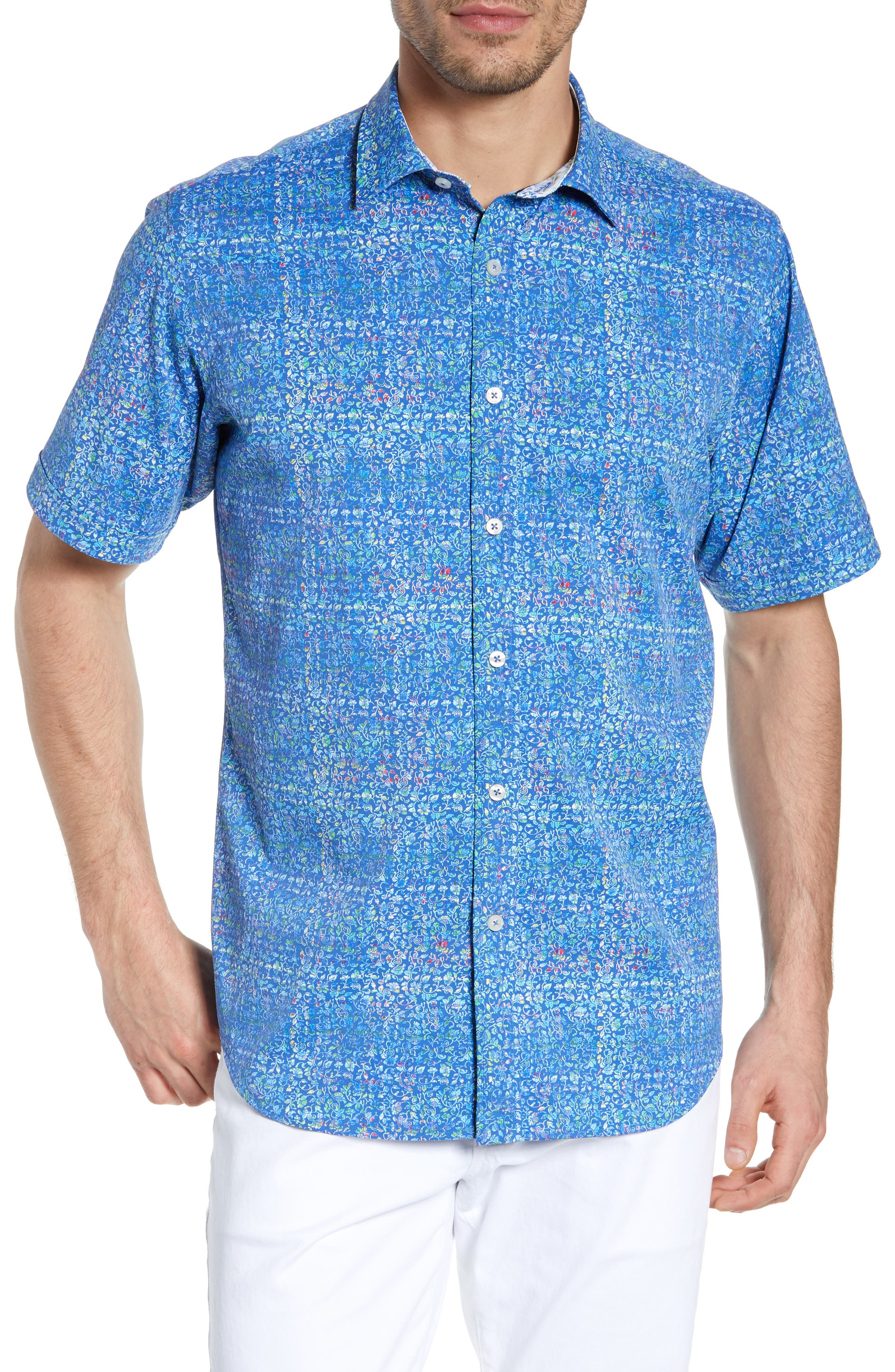 men's bugatchi classic fit print performance sport shirt
