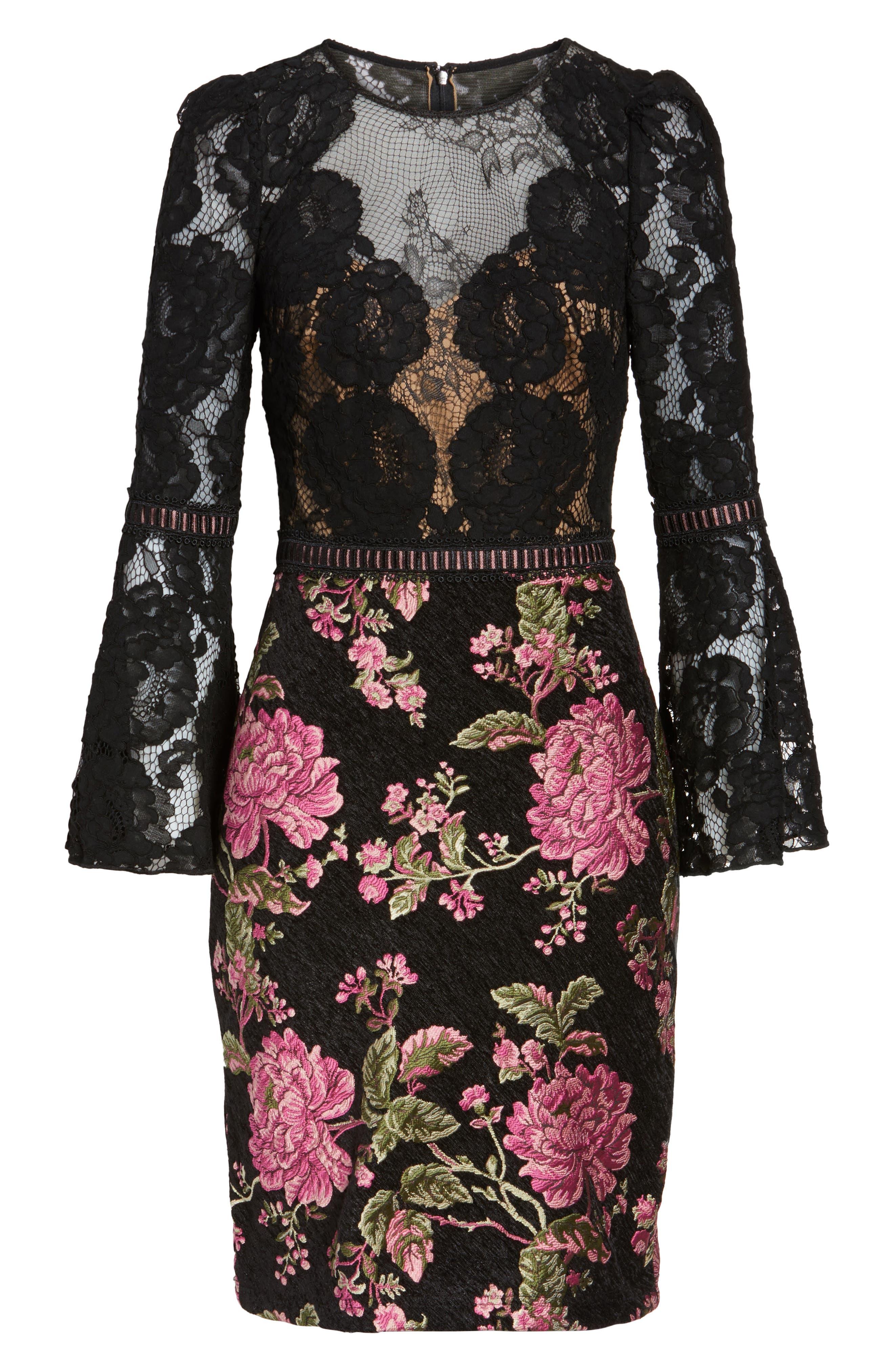 Lace & Brocade Sheath Dress,                             Alternate thumbnail 6, color,