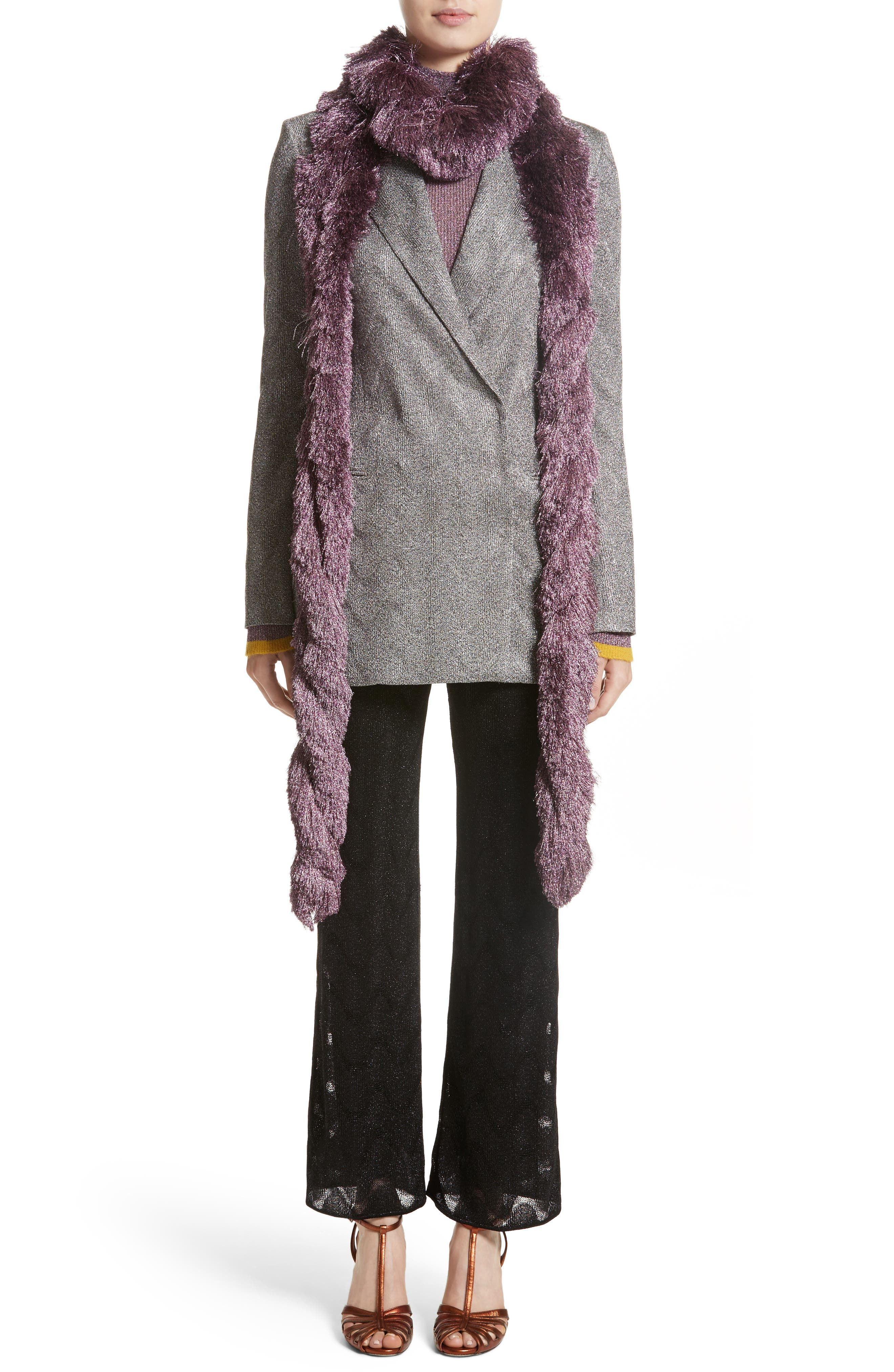 Metallic Knit Double Breasted Jacket,                             Alternate thumbnail 6, color,