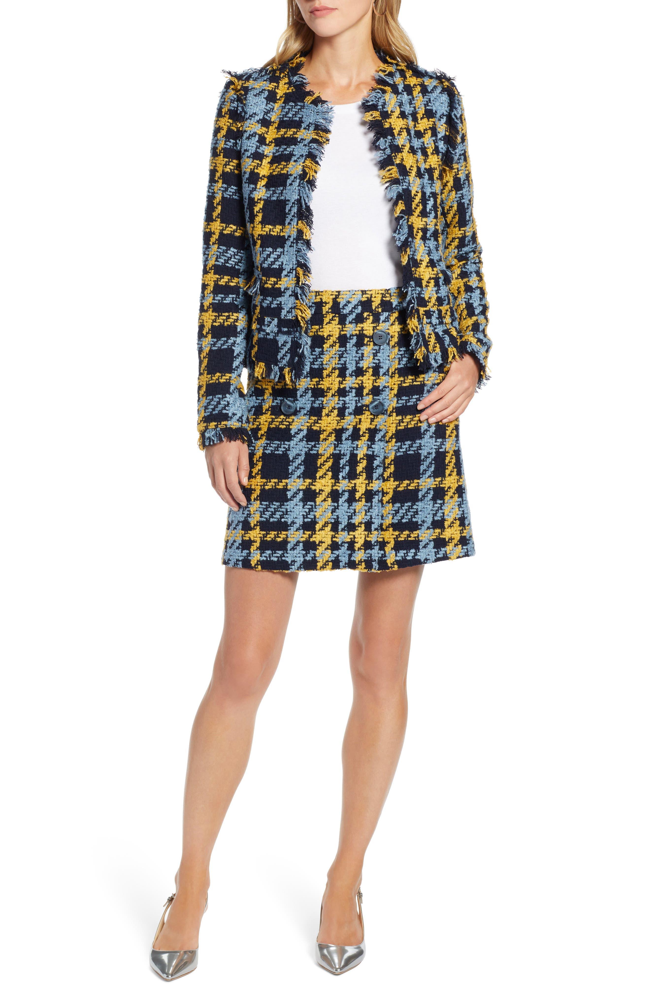 Button Detail Plaid Skirt,                             Alternate thumbnail 7, color,                             410