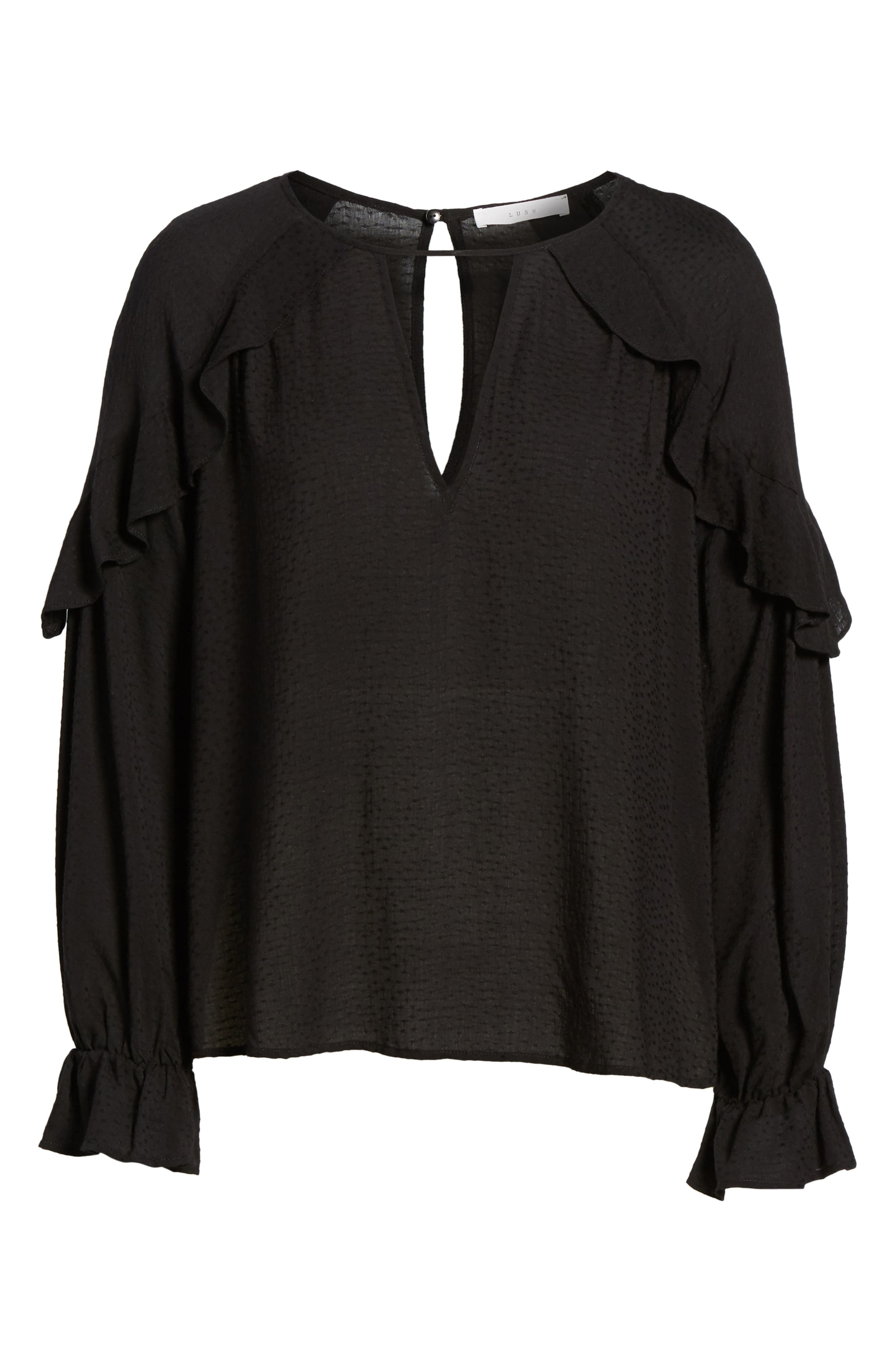 Textured Ruffle Blouse,                             Alternate thumbnail 6, color,                             001