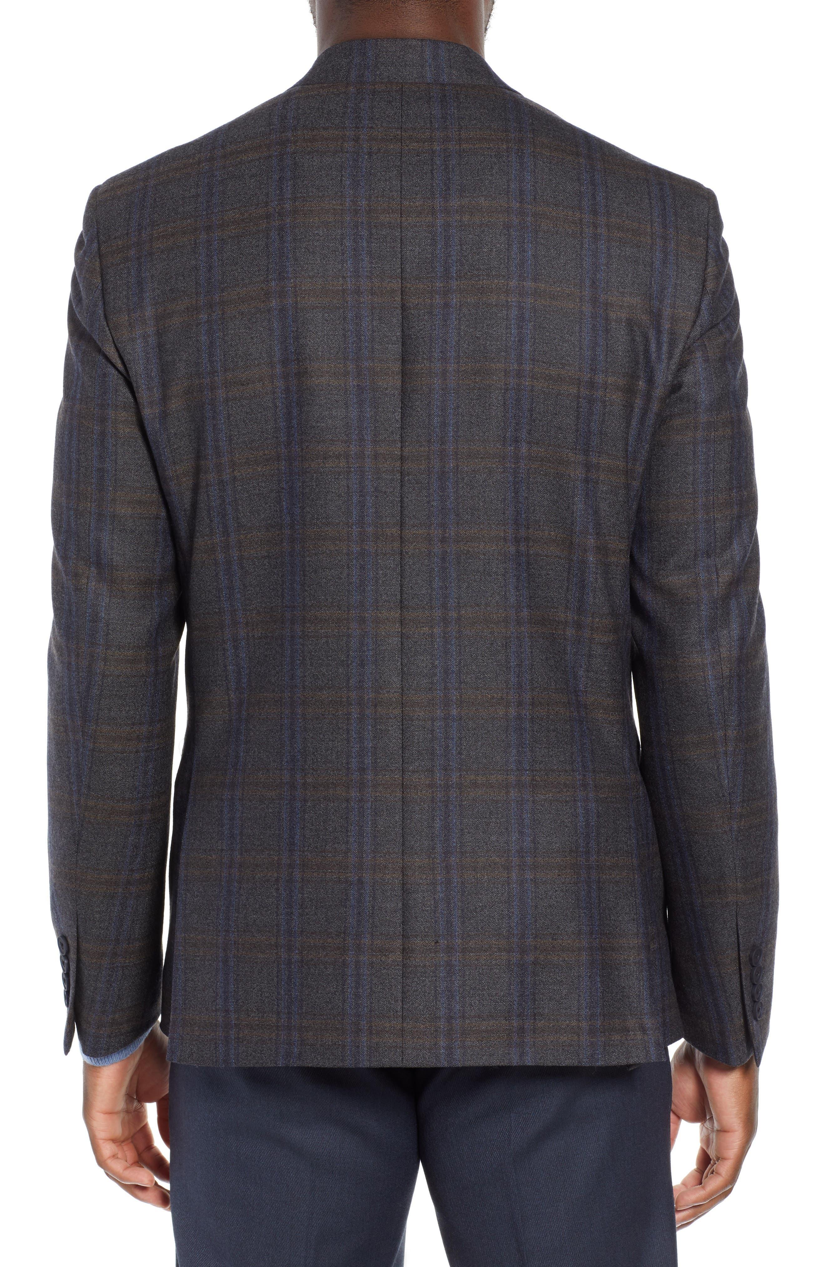 NORDSTROM MEN'S SHOP,                             Trim Fit Plaid Wool Sport Coat,                             Alternate thumbnail 2, color,                             010