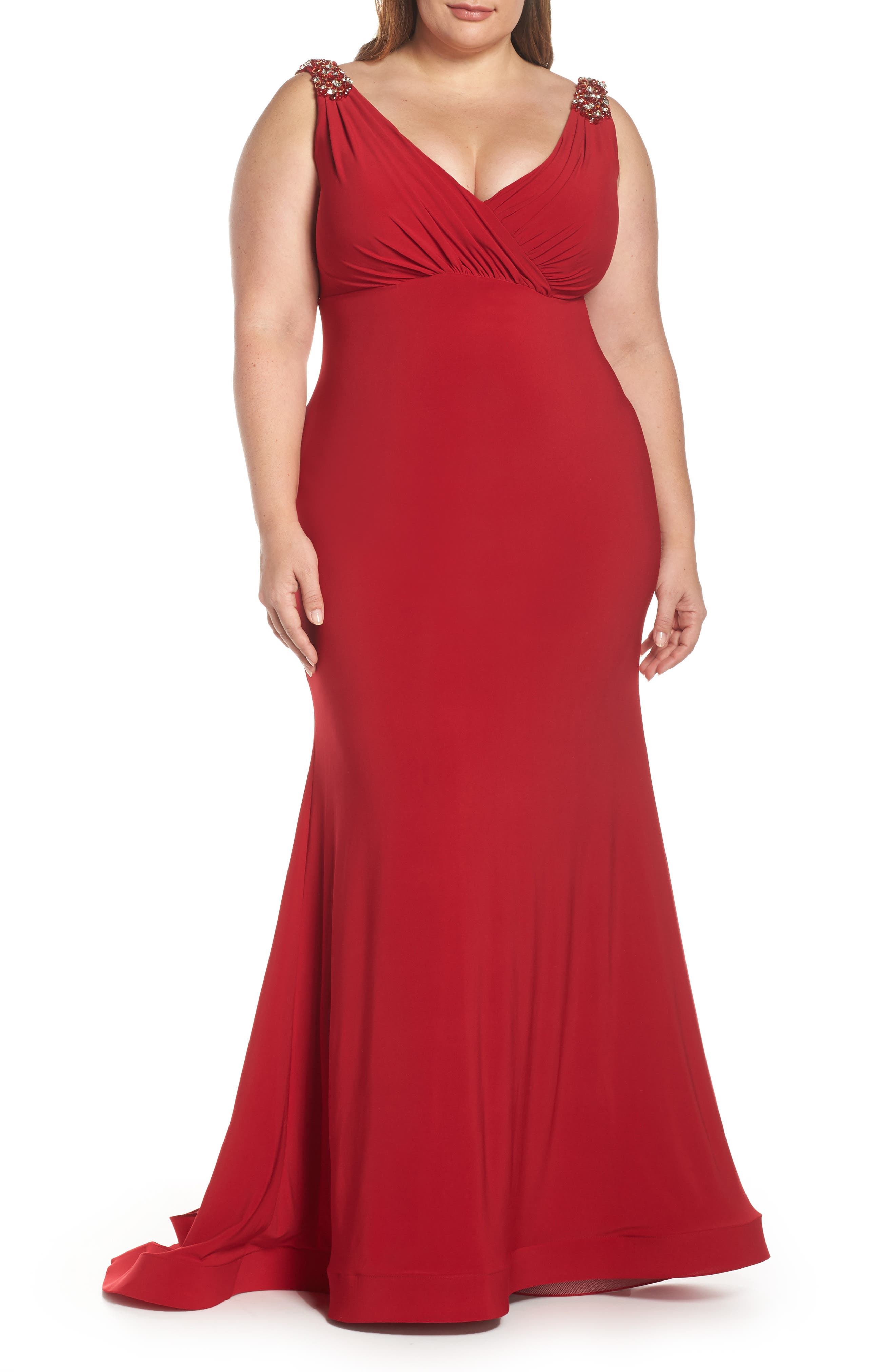 1930s Evening Dresses | Old Hollywood Dress Plus Size Womens MAC Duggal Embellished Trumpet Evening Dress Size 24W - Red $398.00 AT vintagedancer.com