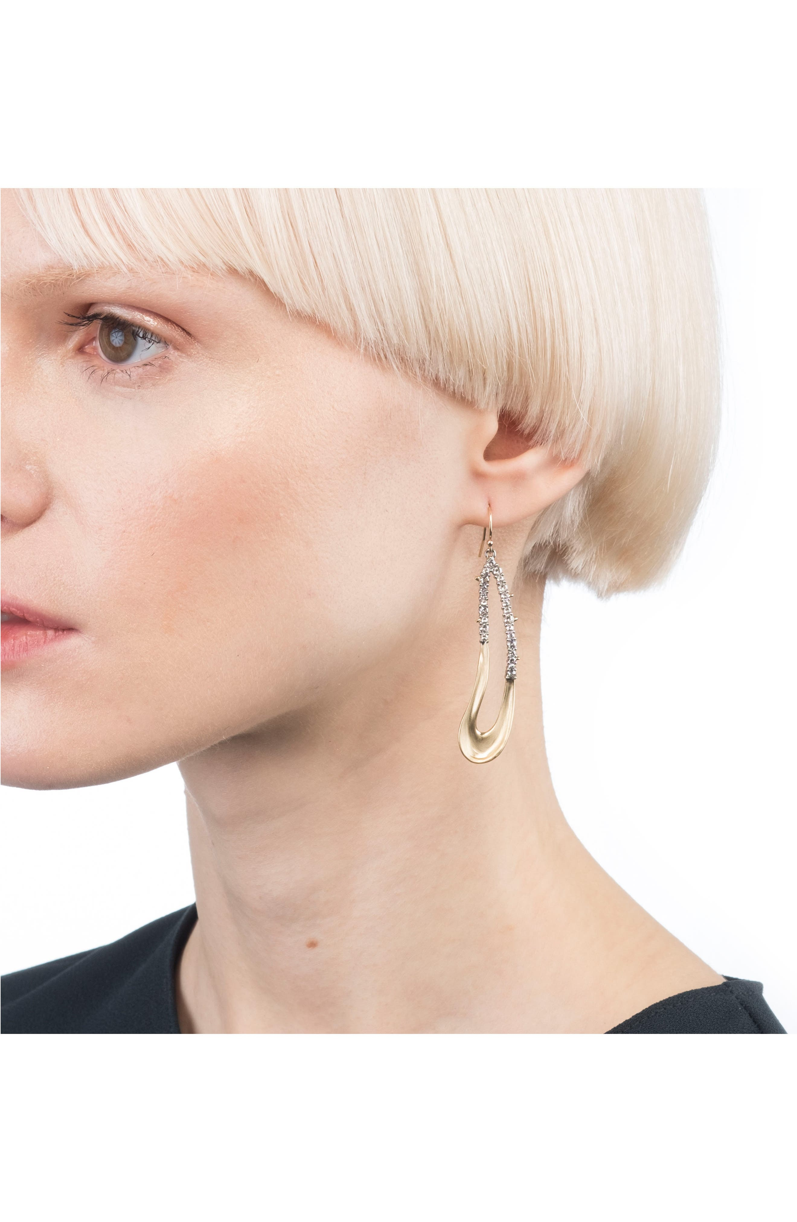Freeform Crystal Encrusted Drop Earrings,                             Alternate thumbnail 2, color,                             GOLD/ SILVER