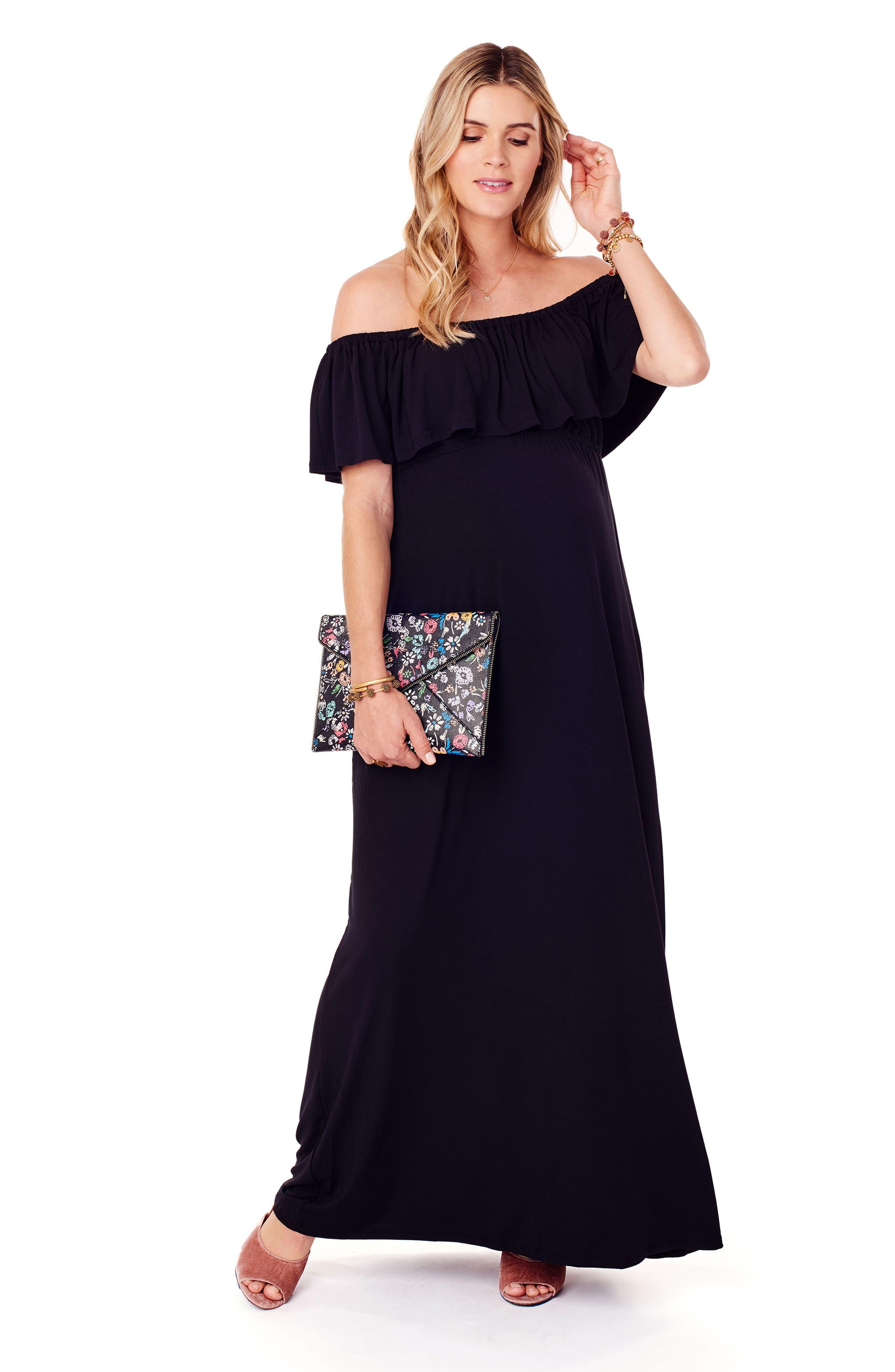 Off the Shoulder Maternity Maxi Dress,                             Alternate thumbnail 4, color,                             JET BLACK