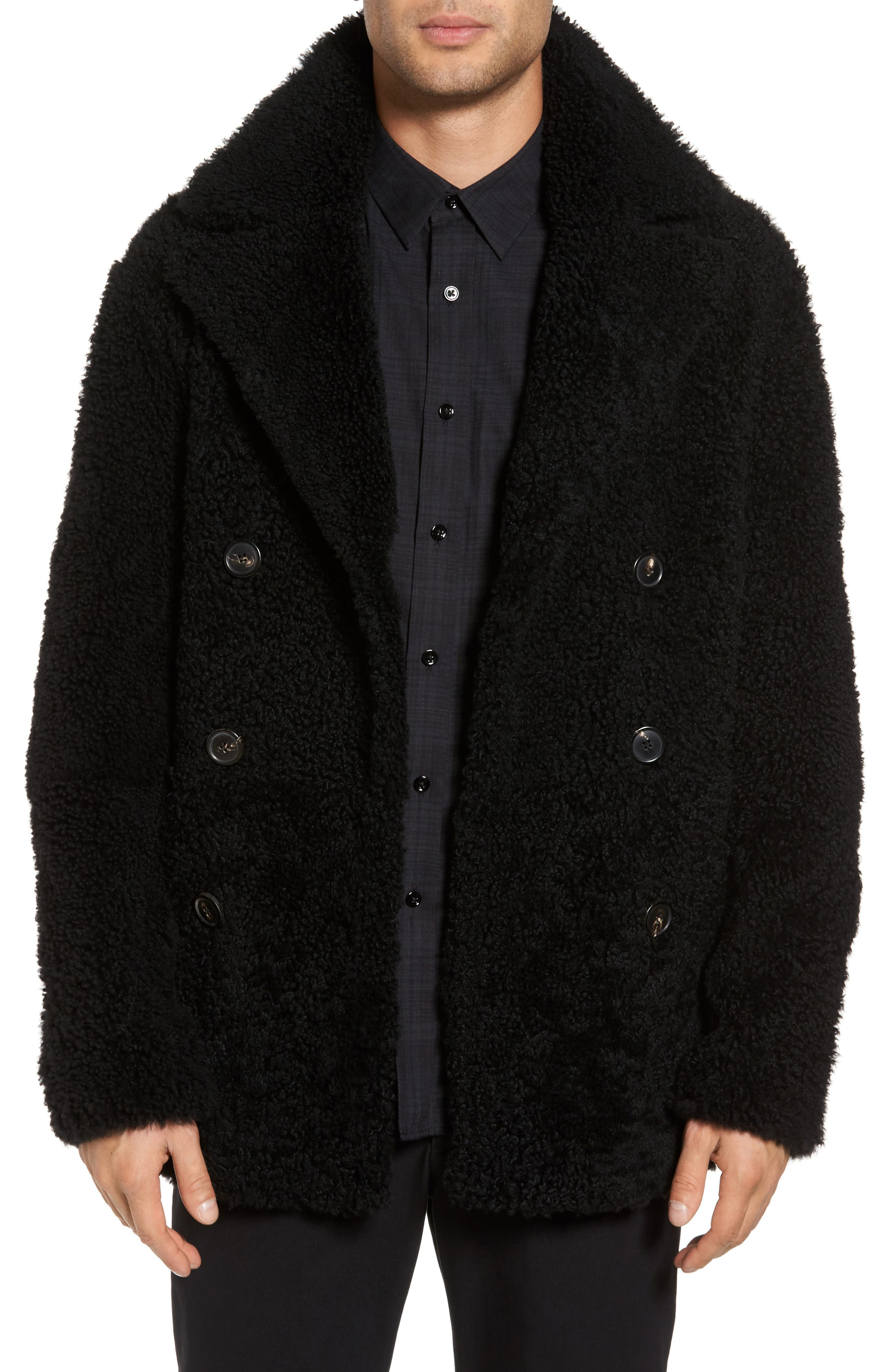 Reversible Genuine Shearling Peacoat,                         Main,                         color, 001
