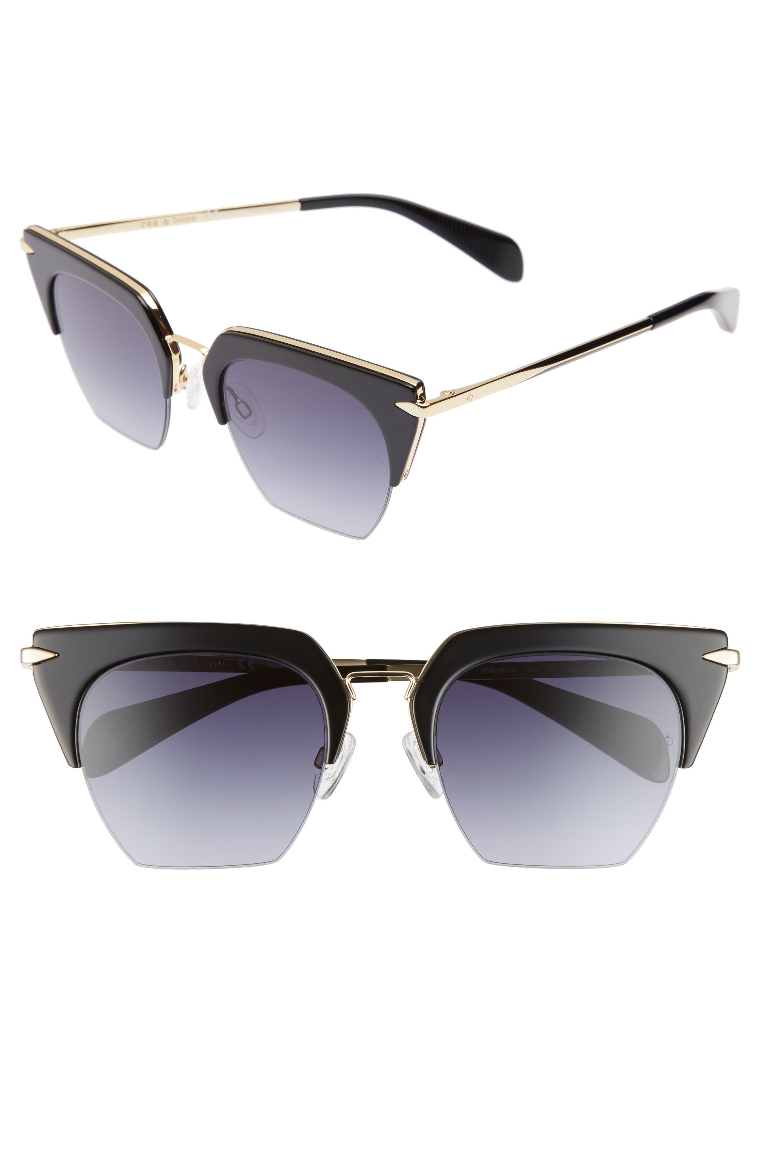 51mm Cat Eye Sunglasses,                             Main thumbnail 1, color,                             BLACK/ GOLD