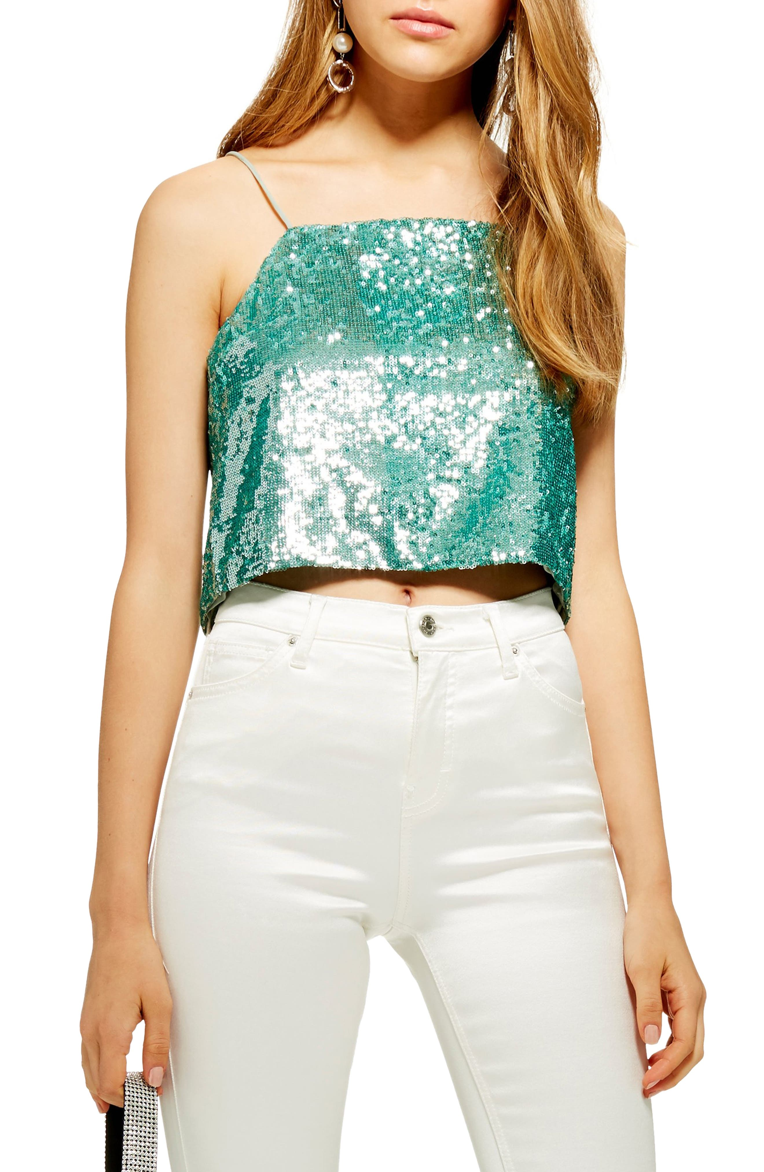 Topshop Sequin Crop Camisole, US (fits like 0) - Green