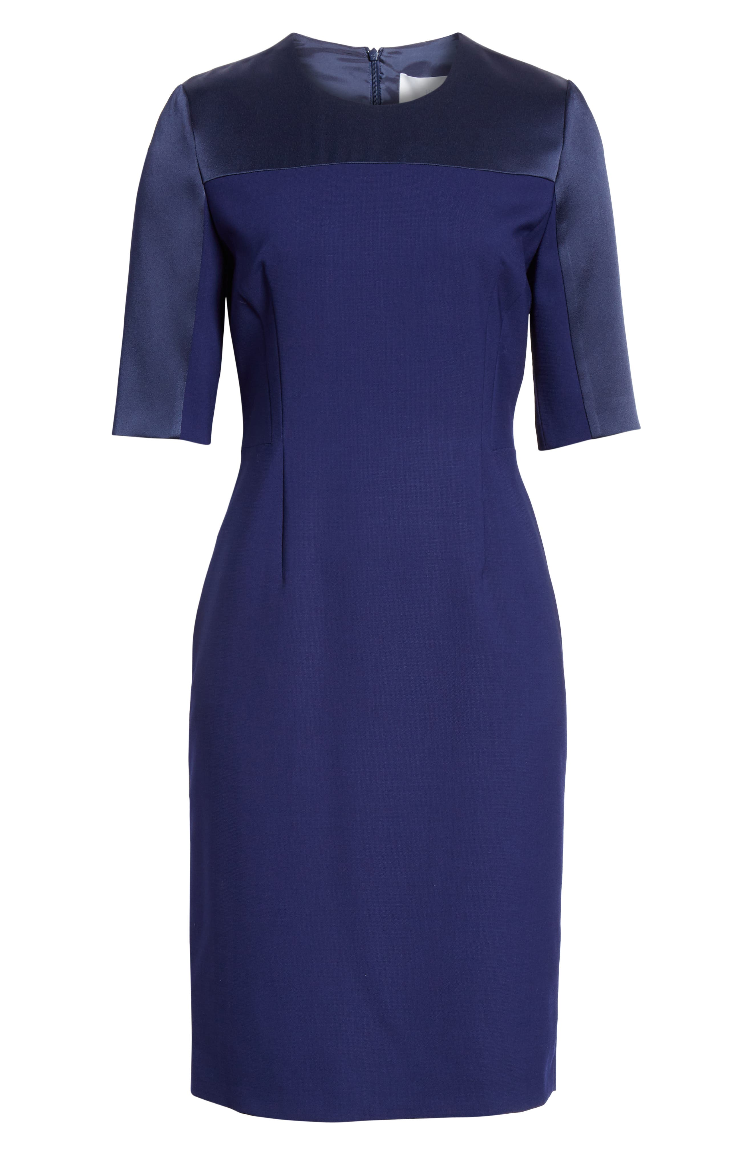 Danufa Stretch Wool Sheath Dress,                             Alternate thumbnail 7, color,                             INK BLUE