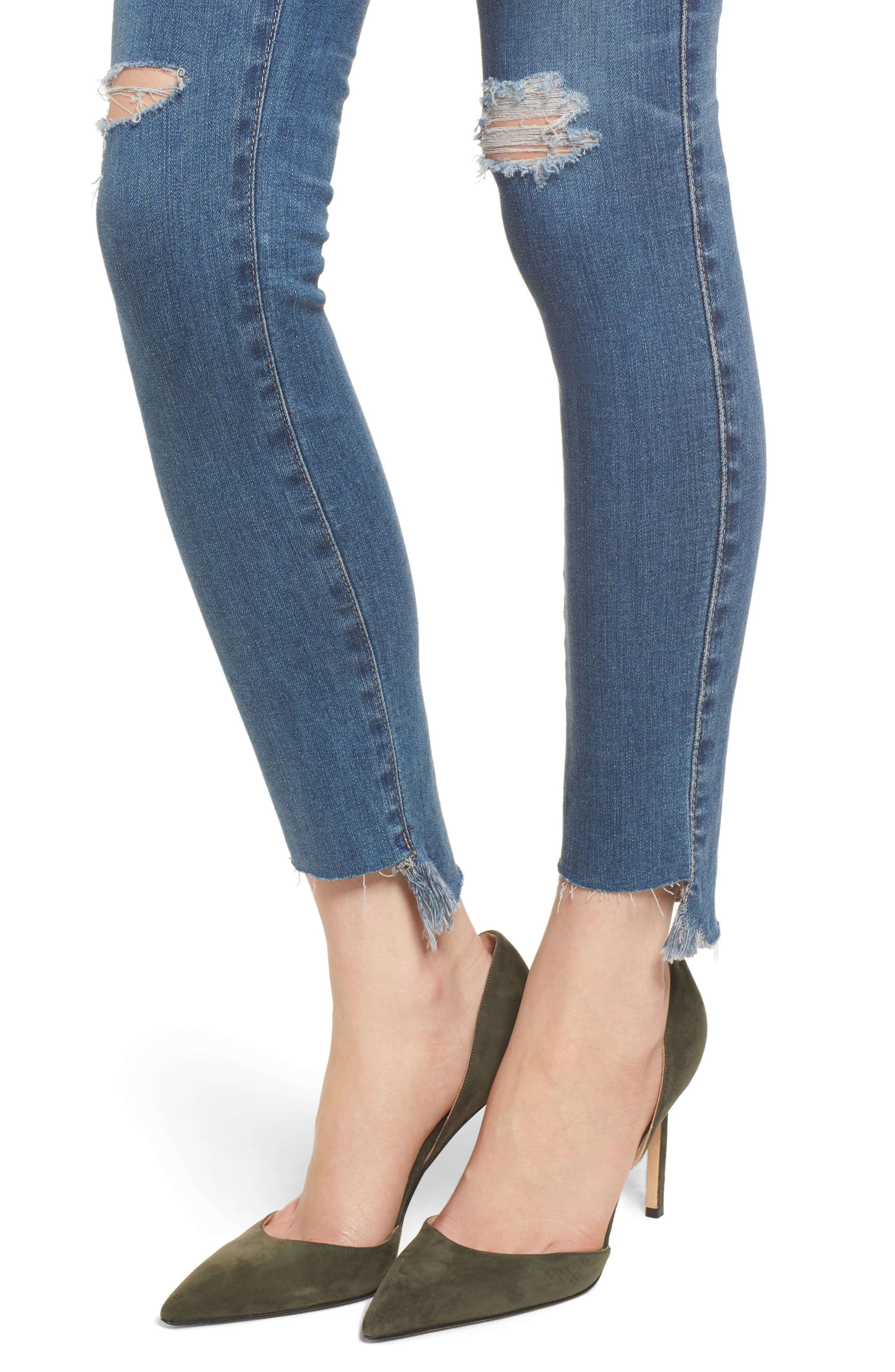 The Legging Raw Step Hem Ankle Skinny Jeans,                             Alternate thumbnail 4, color,                             400