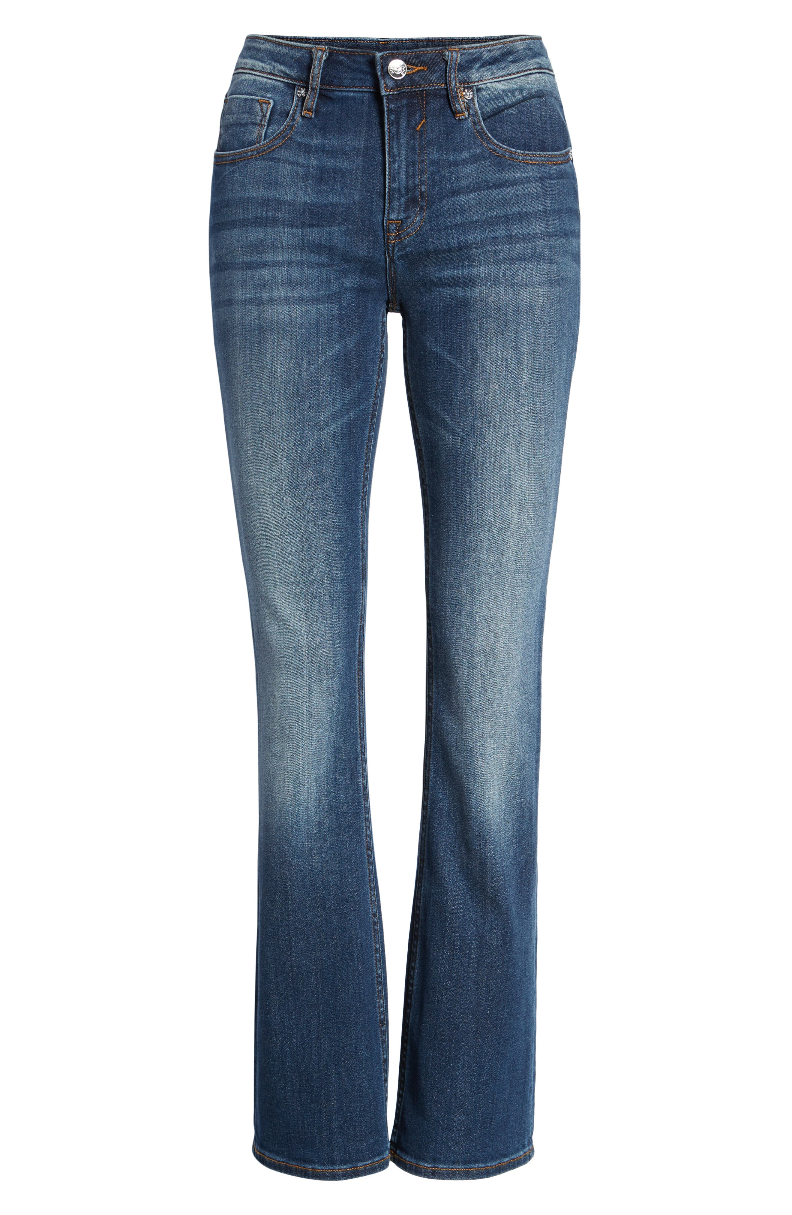 Jagger High Waist Bootcut Jeans,                             Alternate thumbnail 7, color,                             DARK WASH