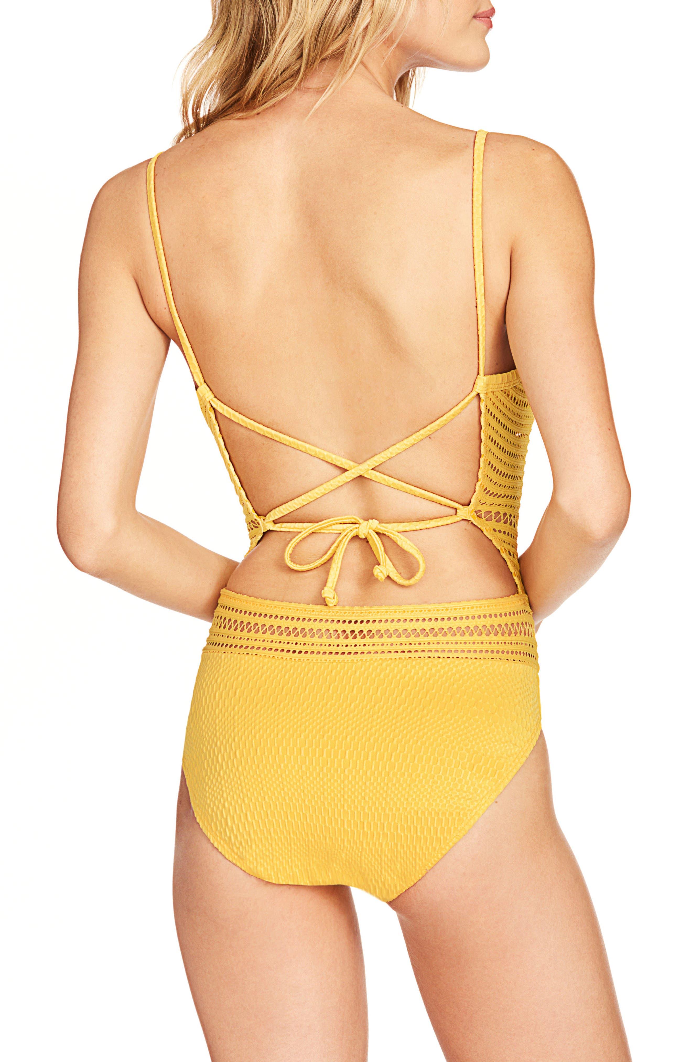 Perla Badeau One-Piece Swimsuit,                             Alternate thumbnail 2, color,                             DANDELION