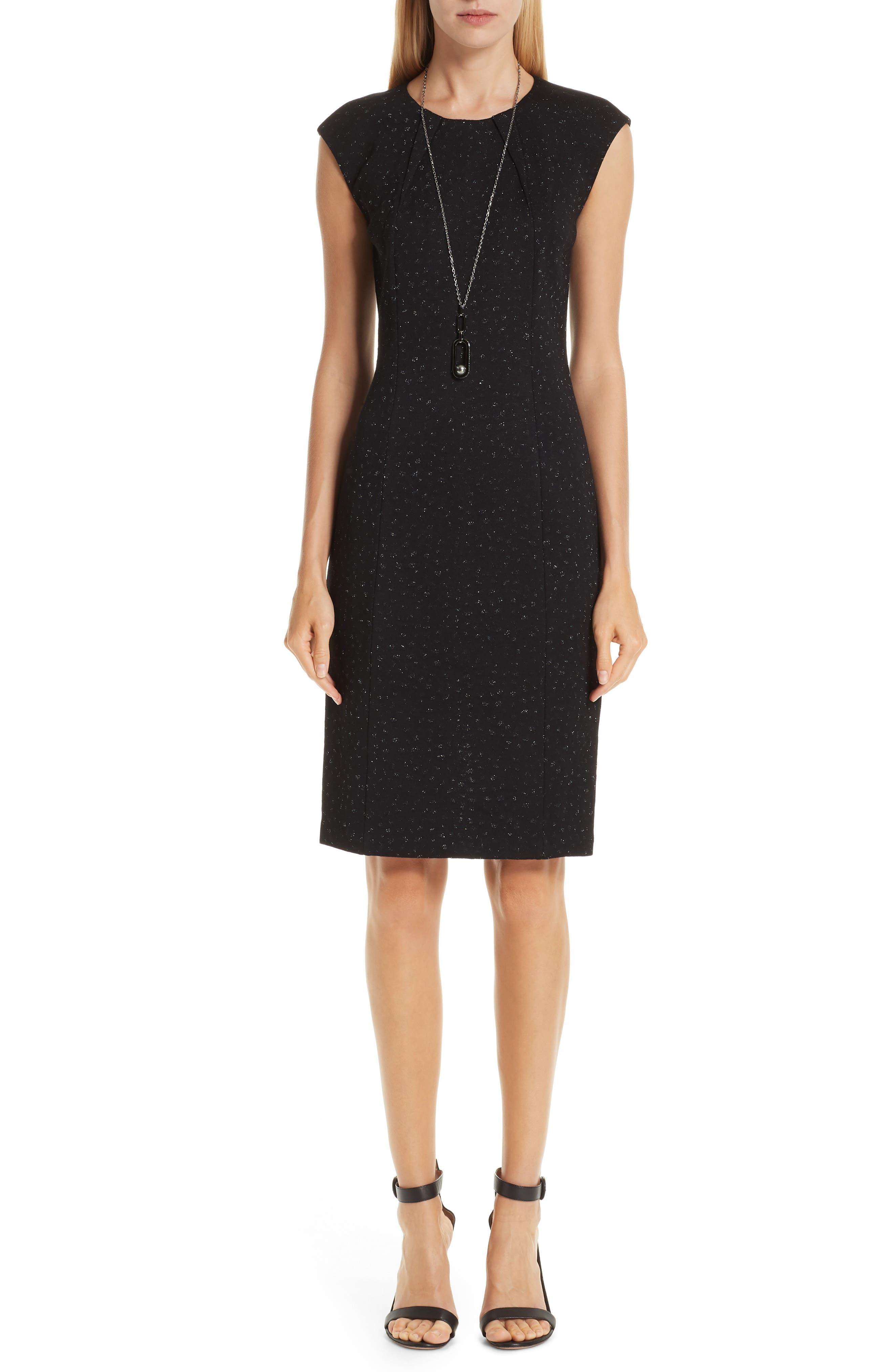 St. John Collection Blister Knit Metallic Jacquard Dress, Black