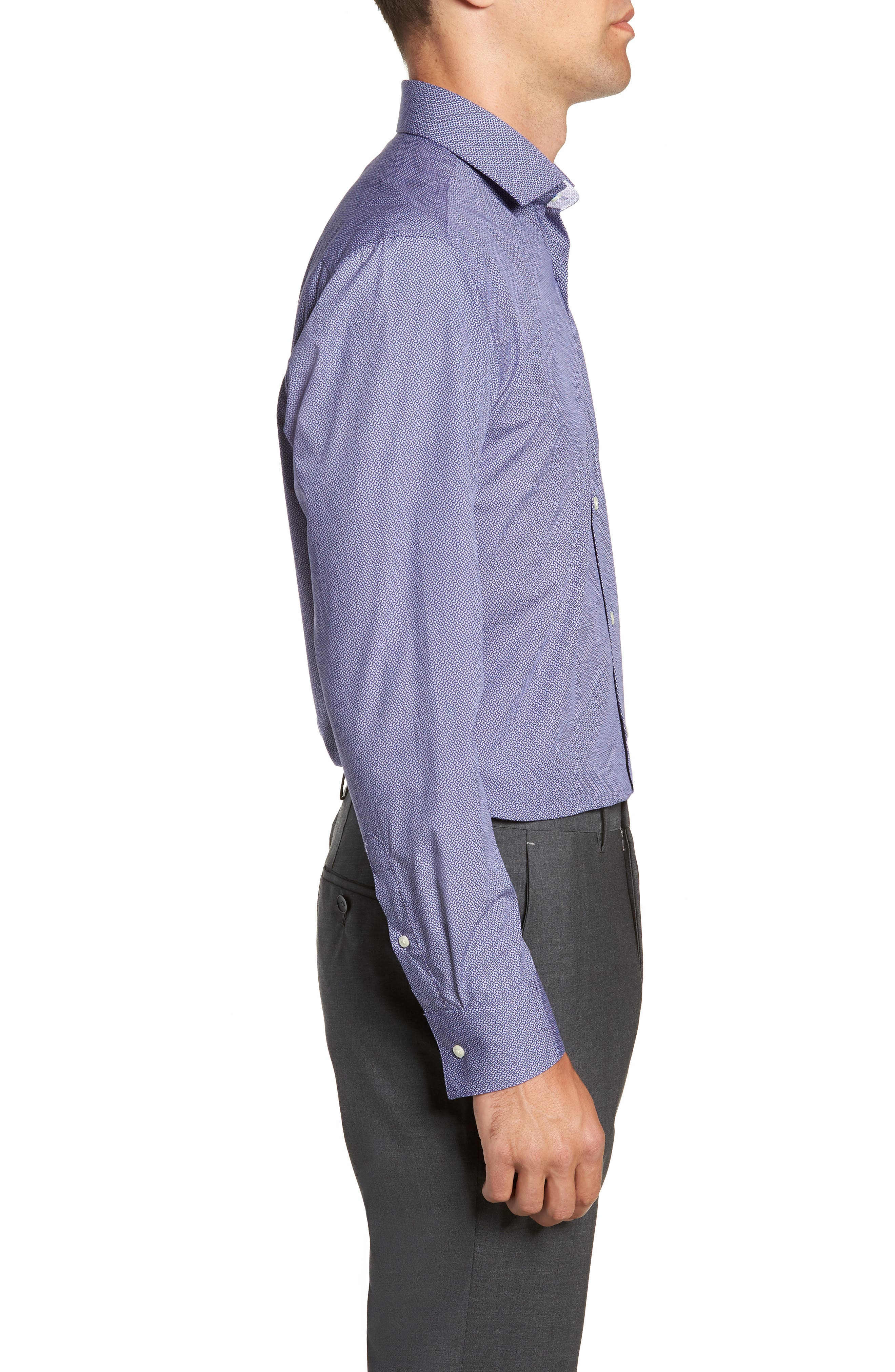 Strame Slim Fit Geometric Dress Shirt,                             Alternate thumbnail 4, color,                             510