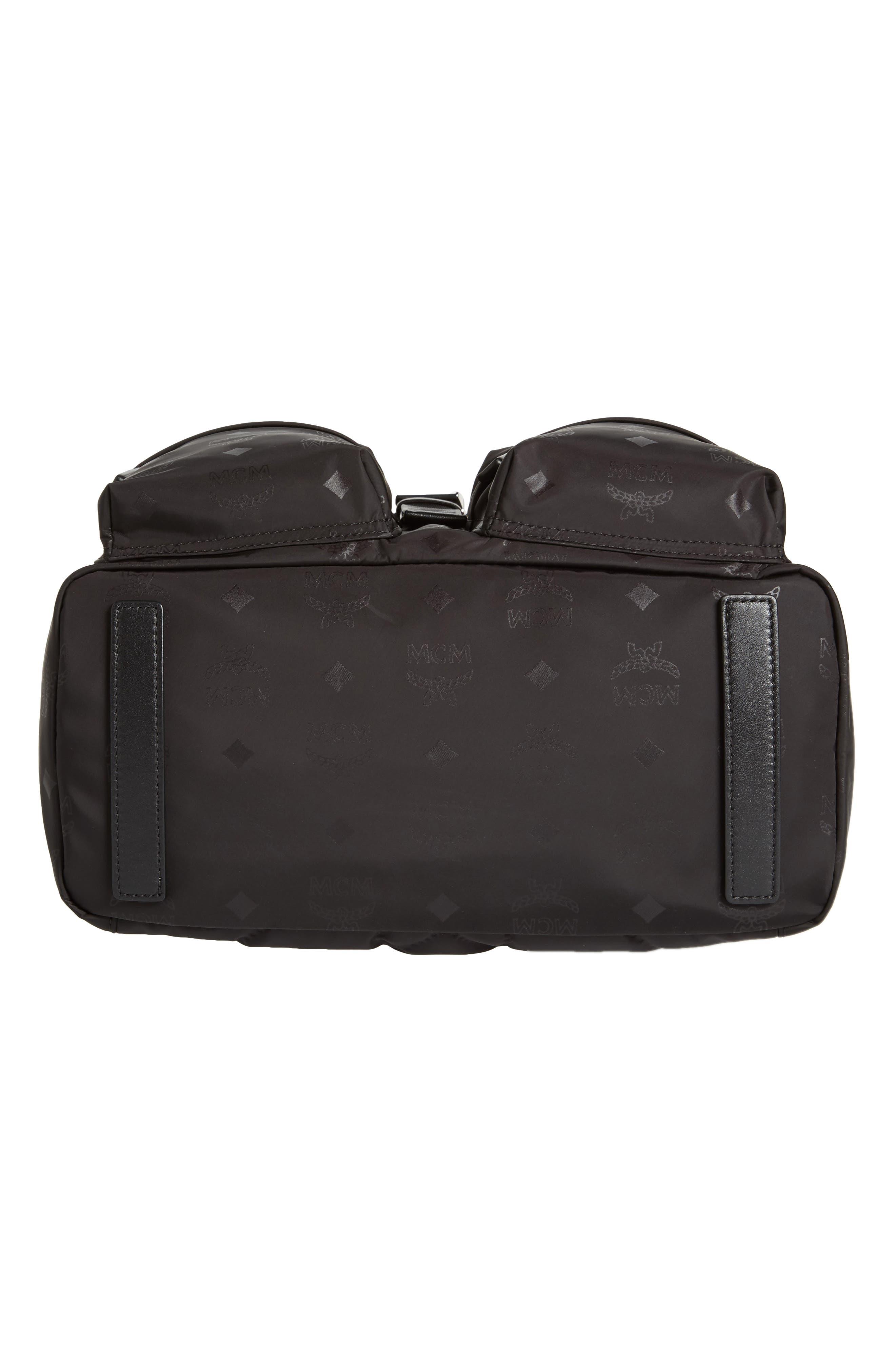 Small Dieter Monogrammed Nylon Backpack,                             Alternate thumbnail 5, color,                             BLACK