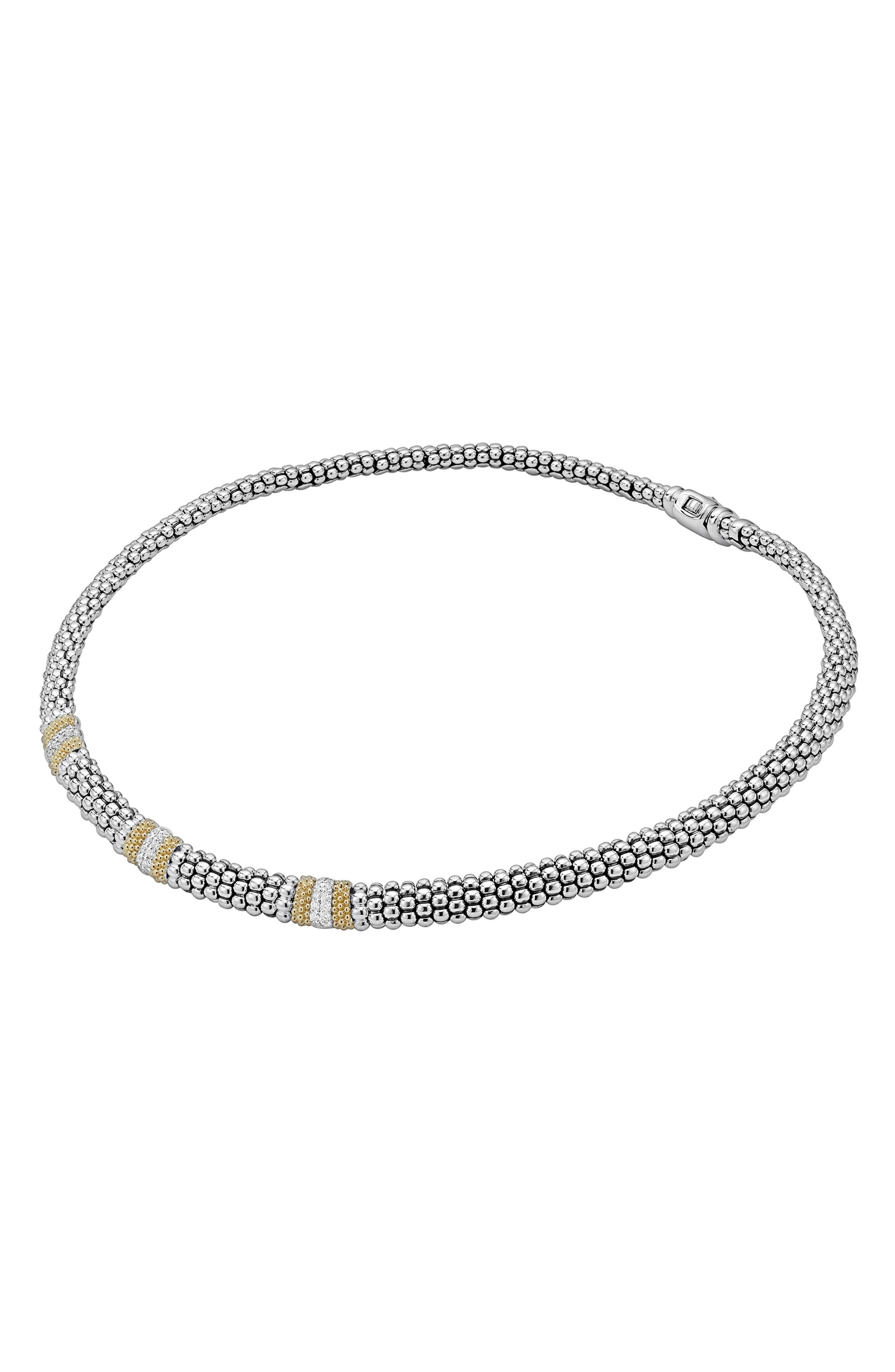 Diamond Lux Triple Station Collar Necklace,                             Alternate thumbnail 4, color,                             SILVER/ DIAMOND