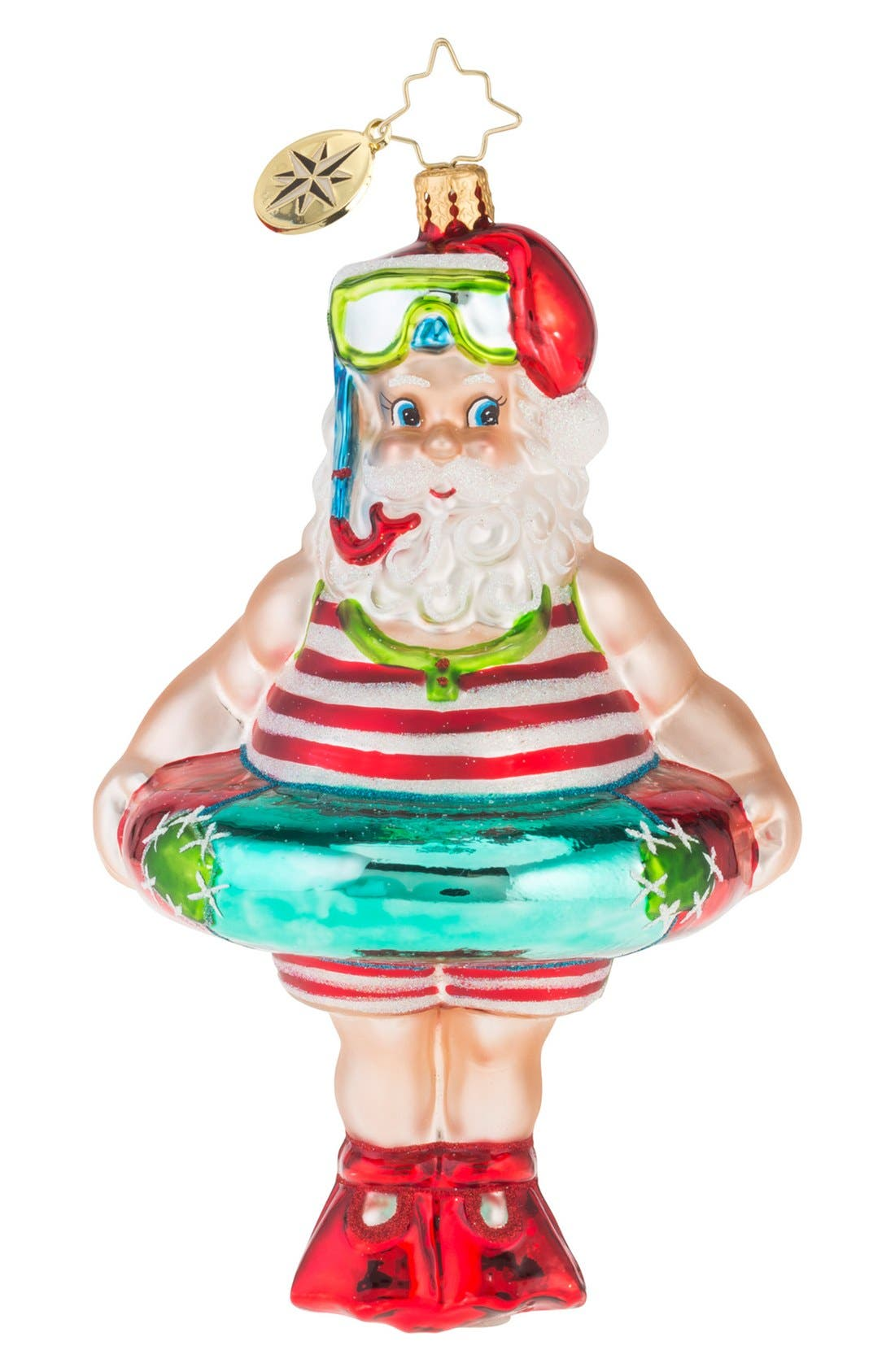 'Splish Splash' Bathing Suit Santa Ornament, Main, color, 600