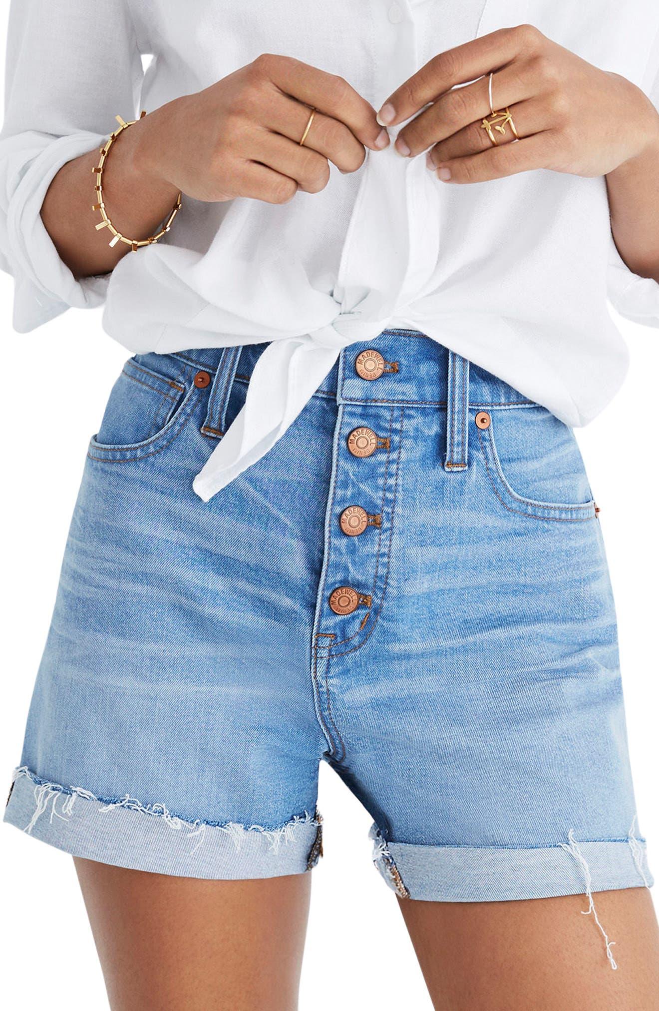 MADEWELL Button Front High Waist Denim Shorts, Main, color, 400