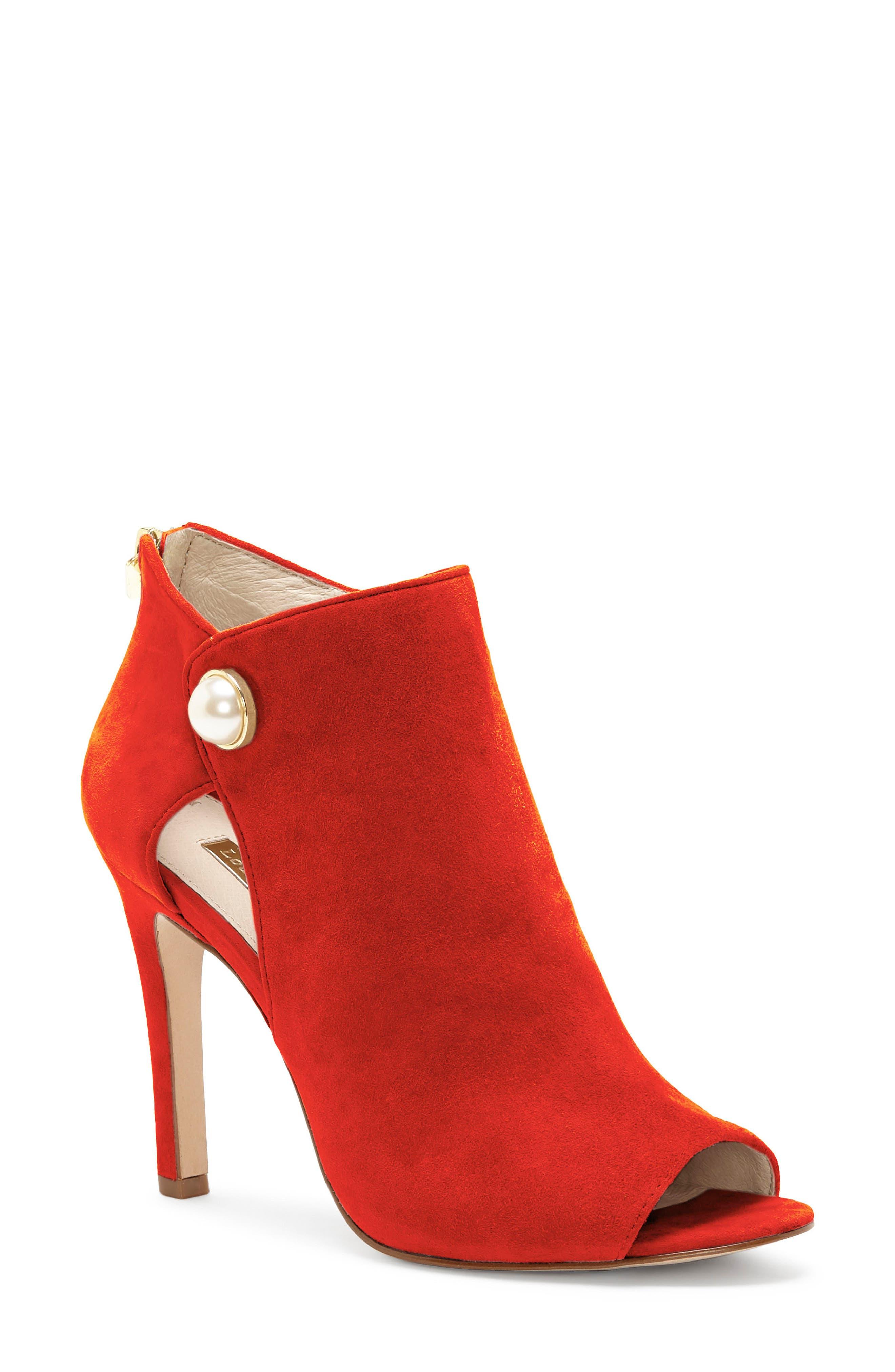 Louise Et Cie Illisa Peep Toe Bootie- Red