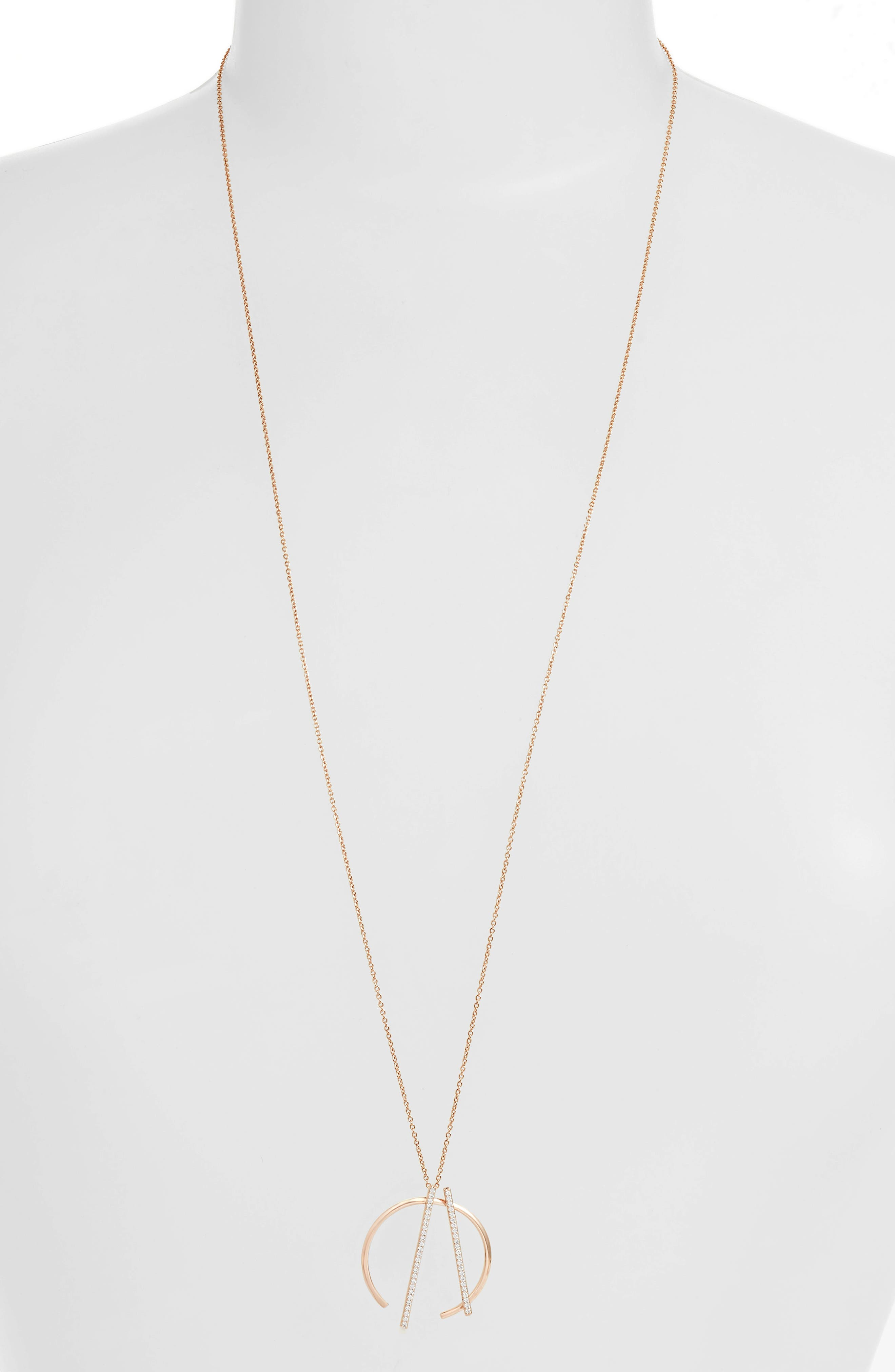 Neo Geo Pendant Necklace, Main, color, ROSE GOLD