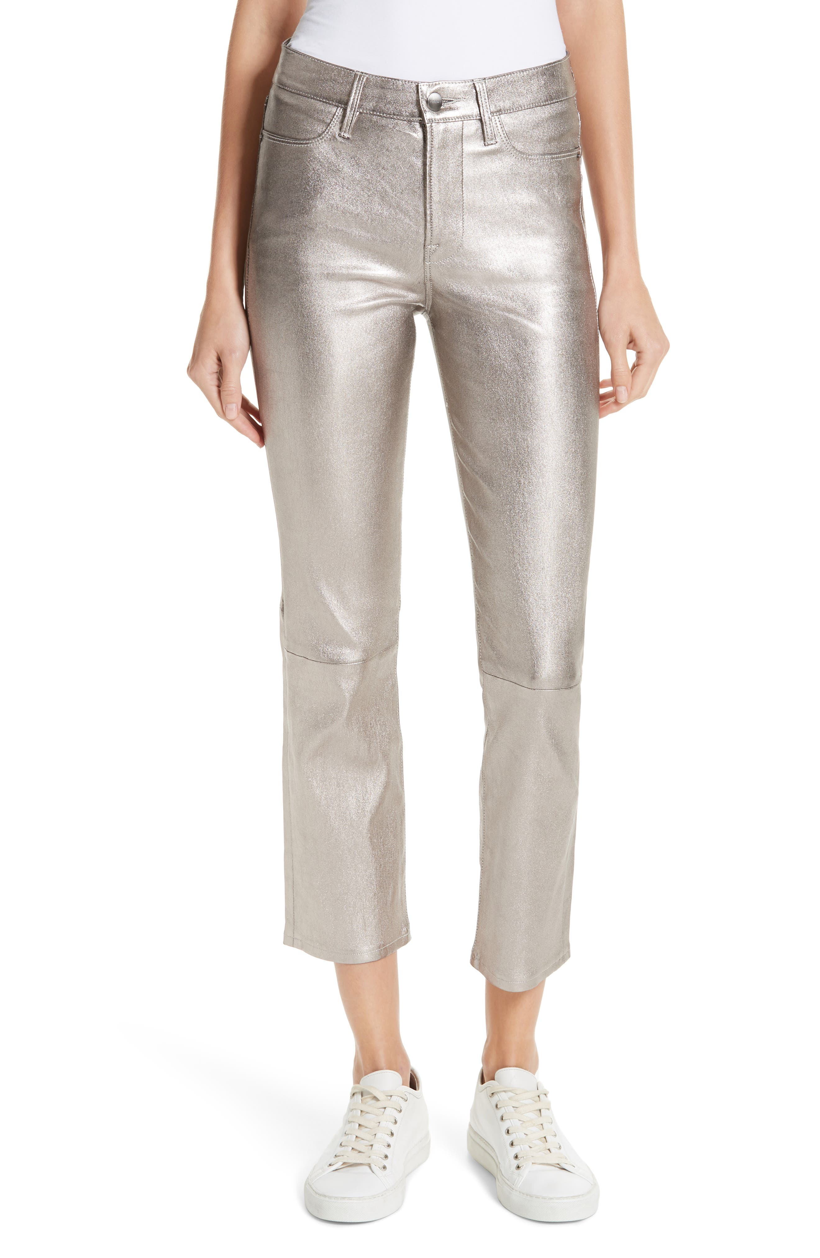 Straight Leg Metallic Leather Pants,                         Main,                         color, LIGHT STEEL