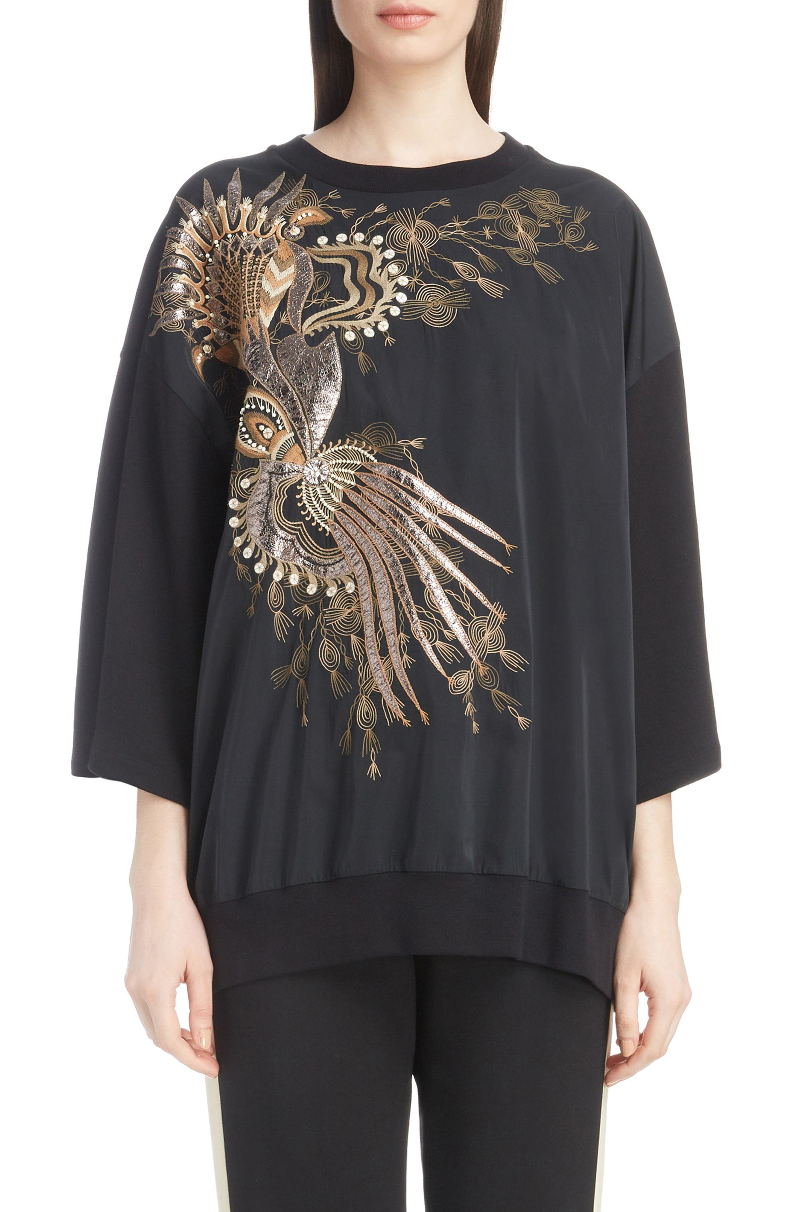 Embroidered Top,                         Main,                         color, BLACK