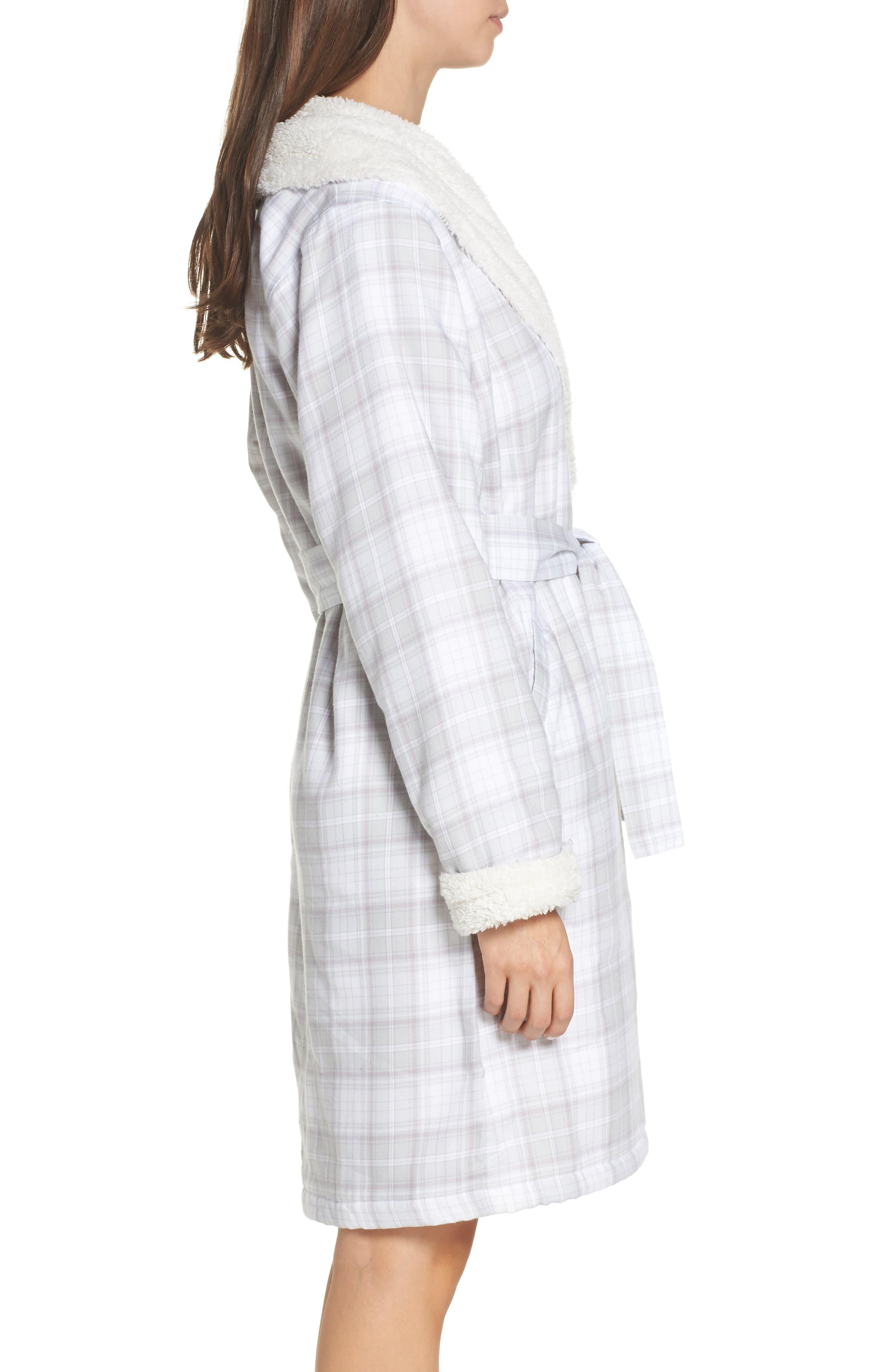 Anika Fleece Lined Flannel Robe,                             Alternate thumbnail 3, color,                             LAVENDER AURA PLAID