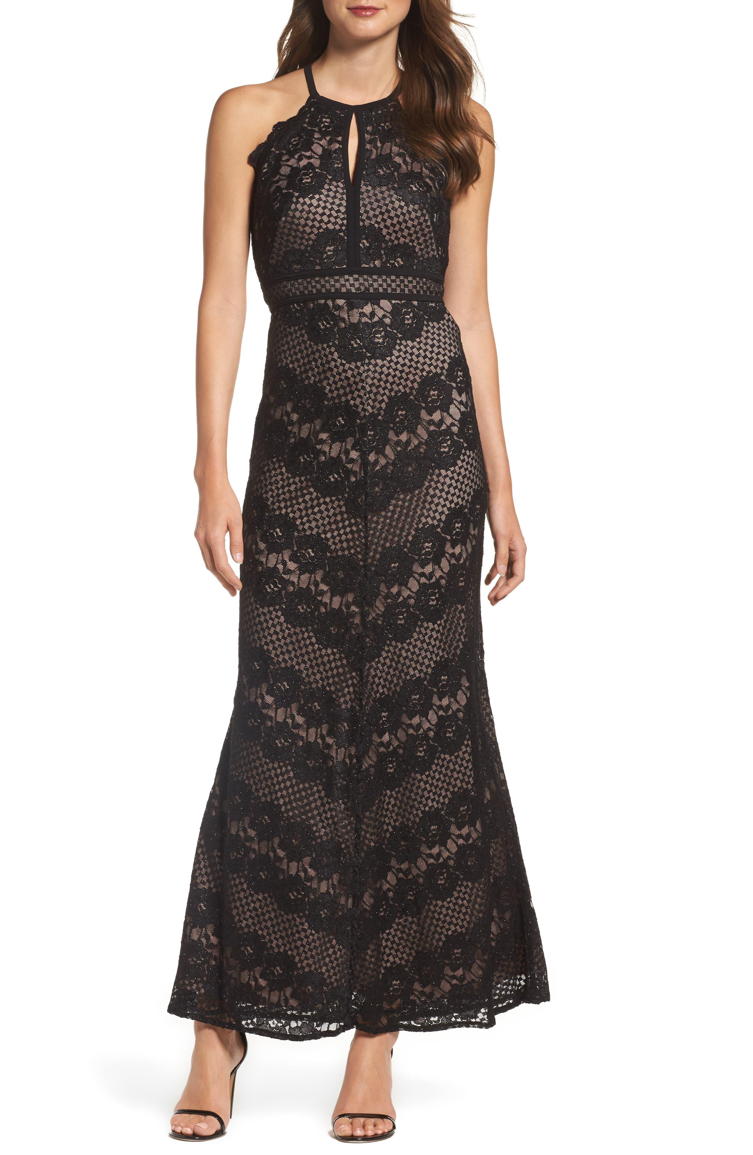 Crisscross Lace Gown, Main, color, BLACK/ NUDE