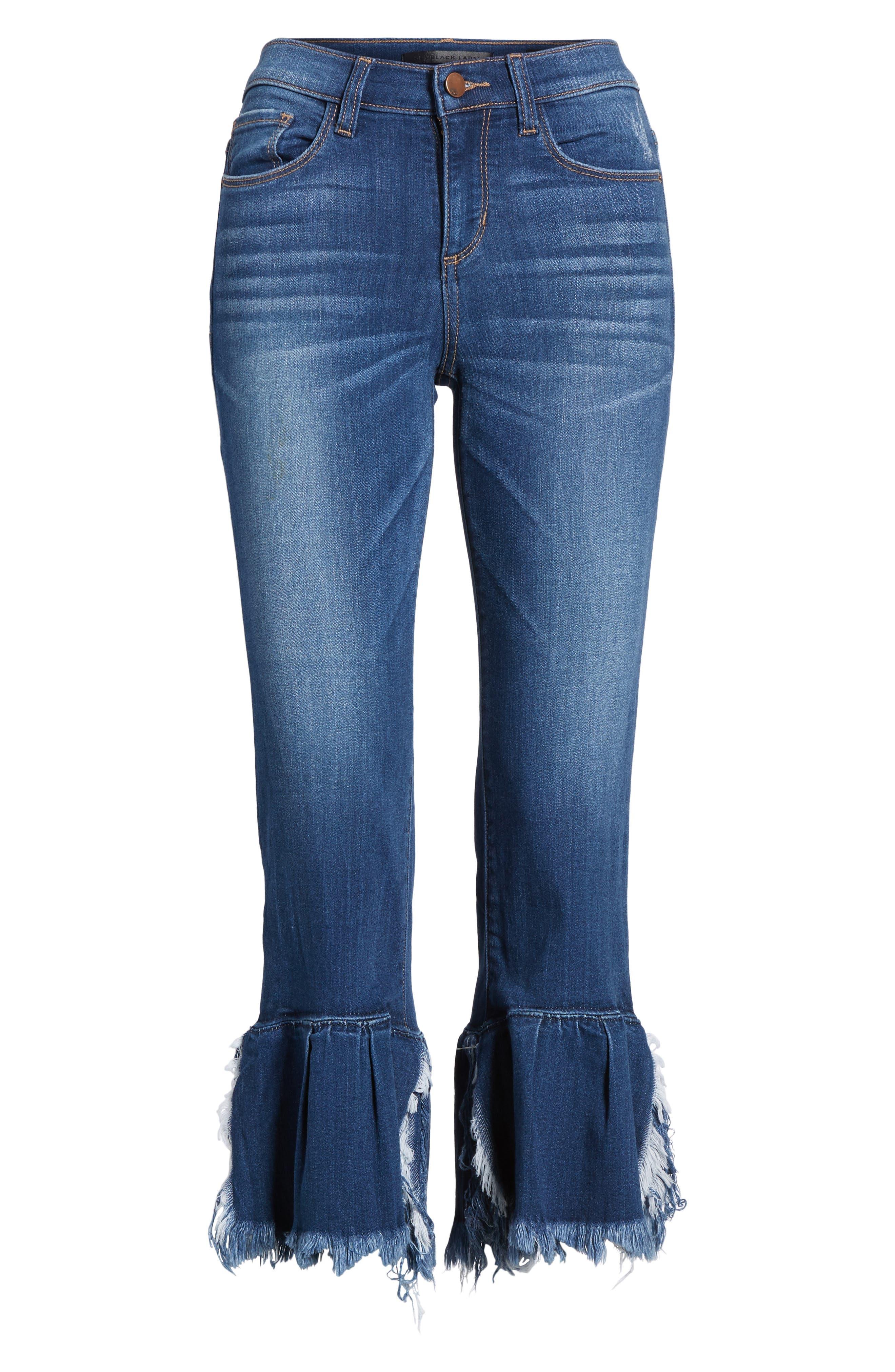 Ruffle Hem Jeans,                             Alternate thumbnail 6, color,                             400