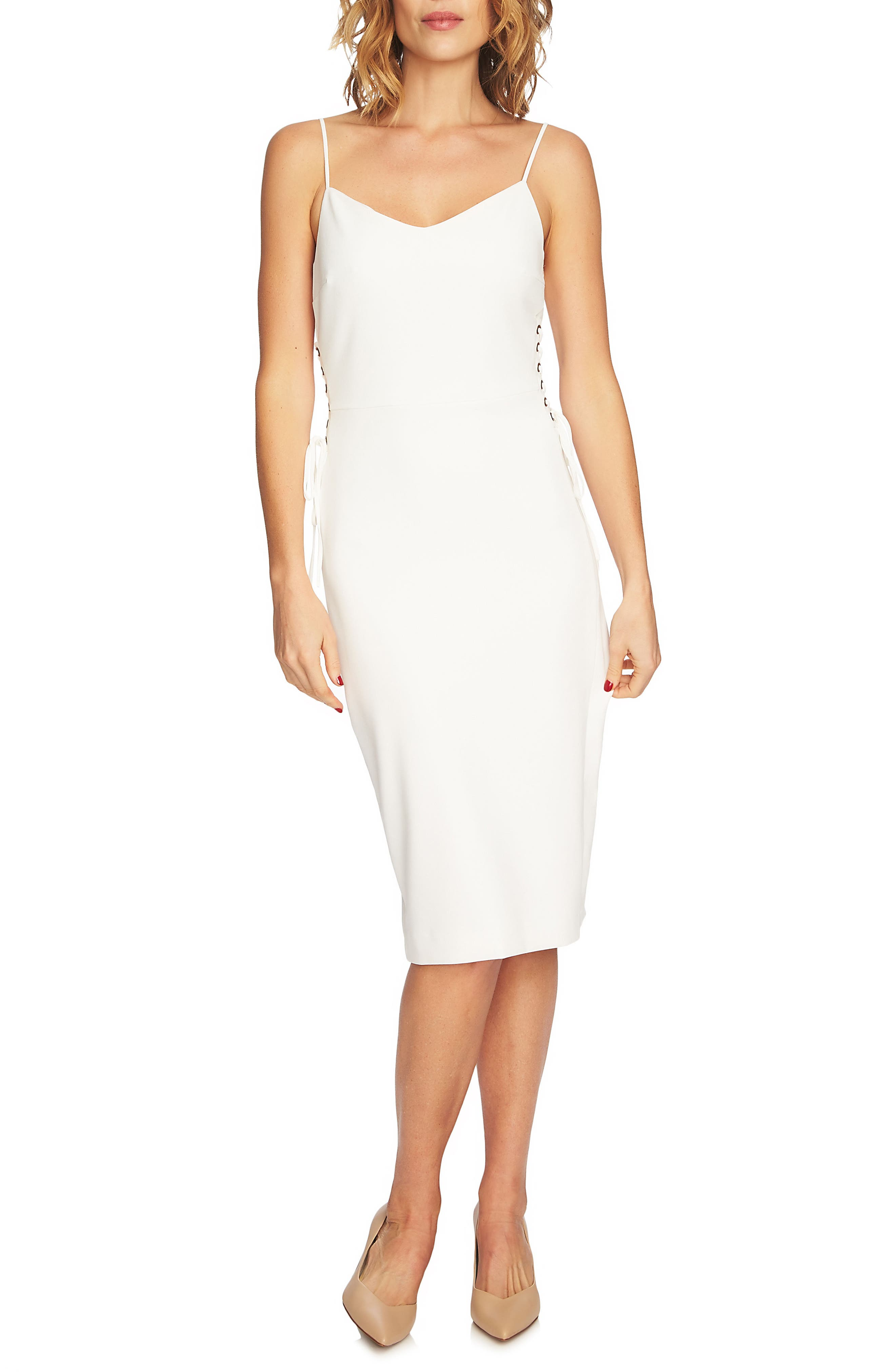 Side Tie Slipdress,                         Main,                         color, NEW IVORY