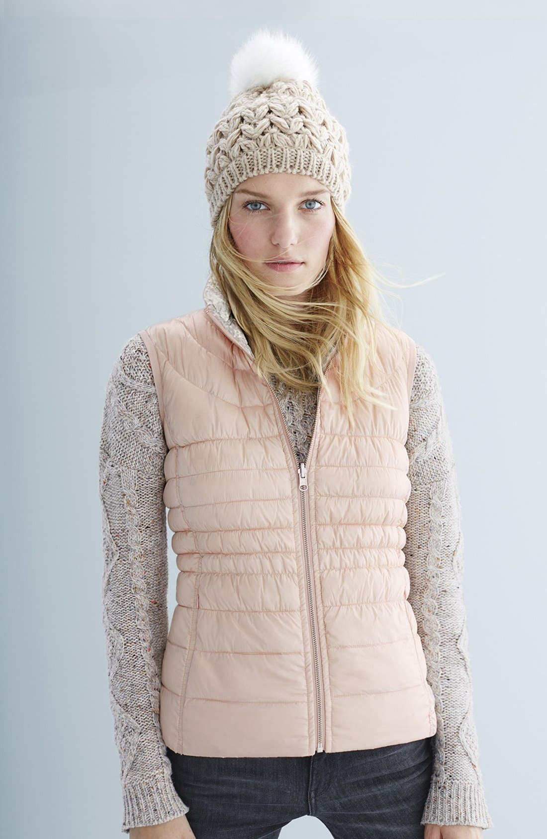 Packable Reversible Down & PrimaLoft<sup>®</sup> Vest,                             Alternate thumbnail 5, color,                             001
