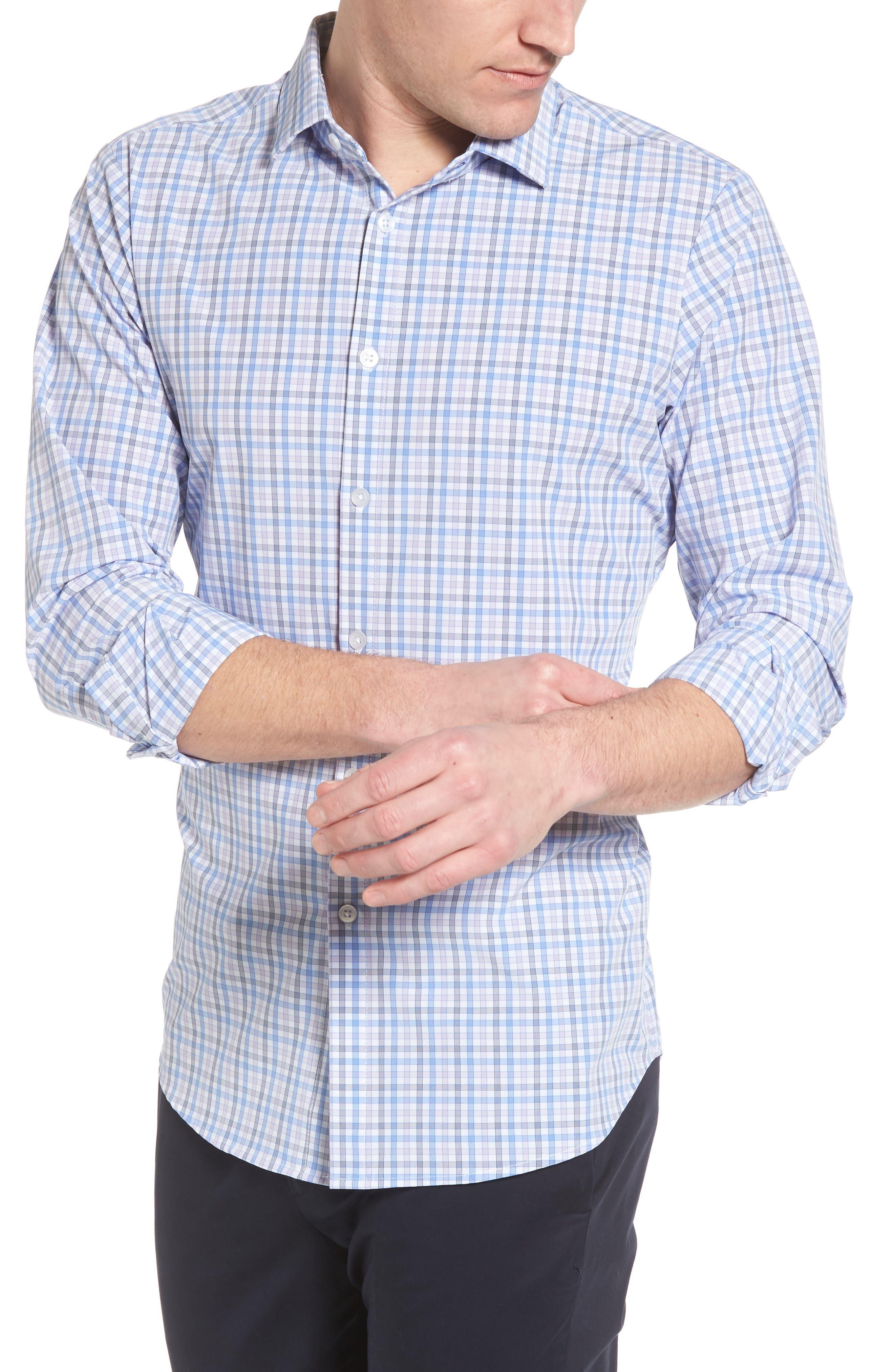 Donley Tattersall Sport Shirt,                             Alternate thumbnail 4, color,                             BLUE