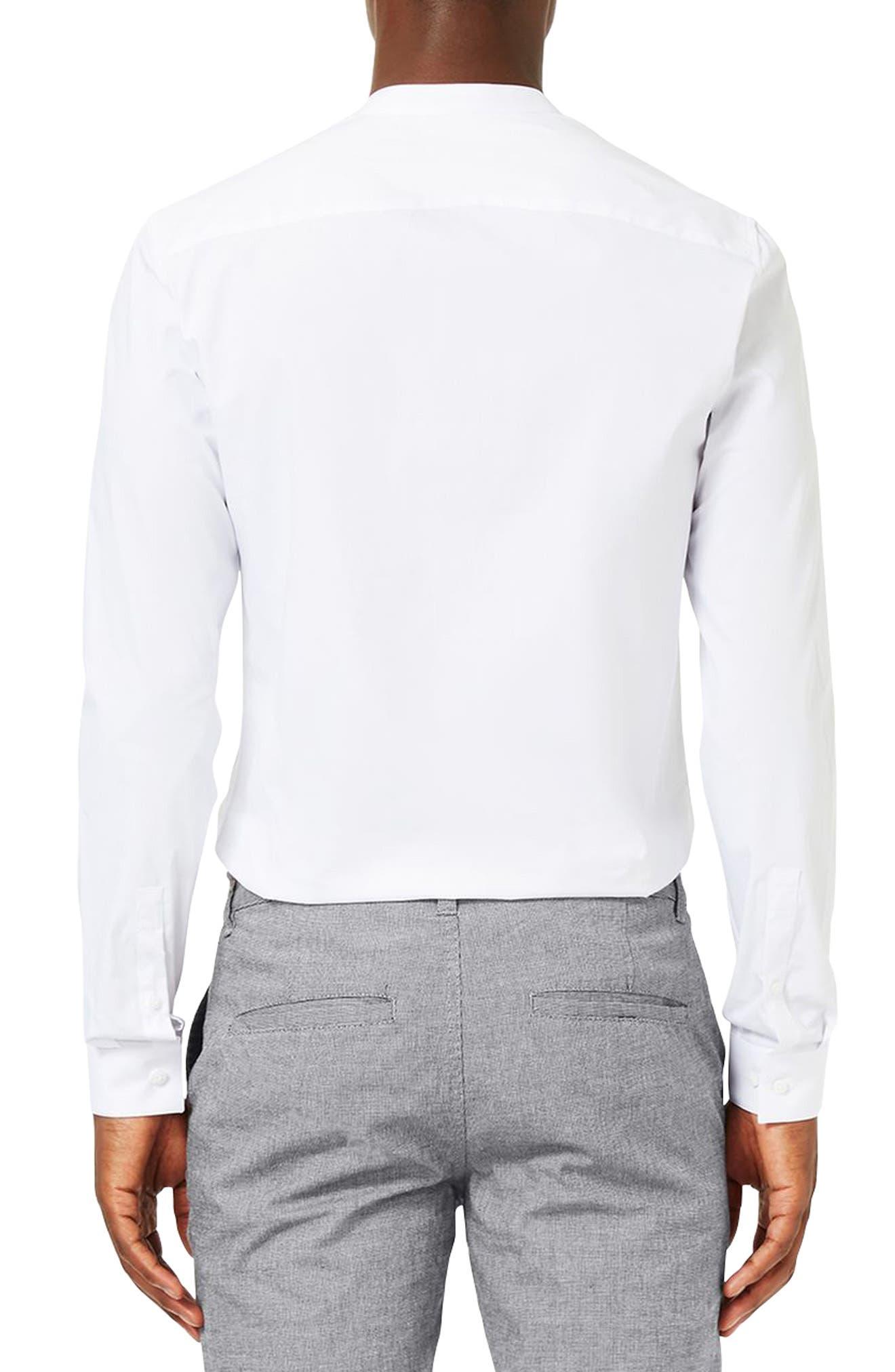 Band Collar Skinny Fit Dress Shirt,                             Alternate thumbnail 3, color,                             WHITE