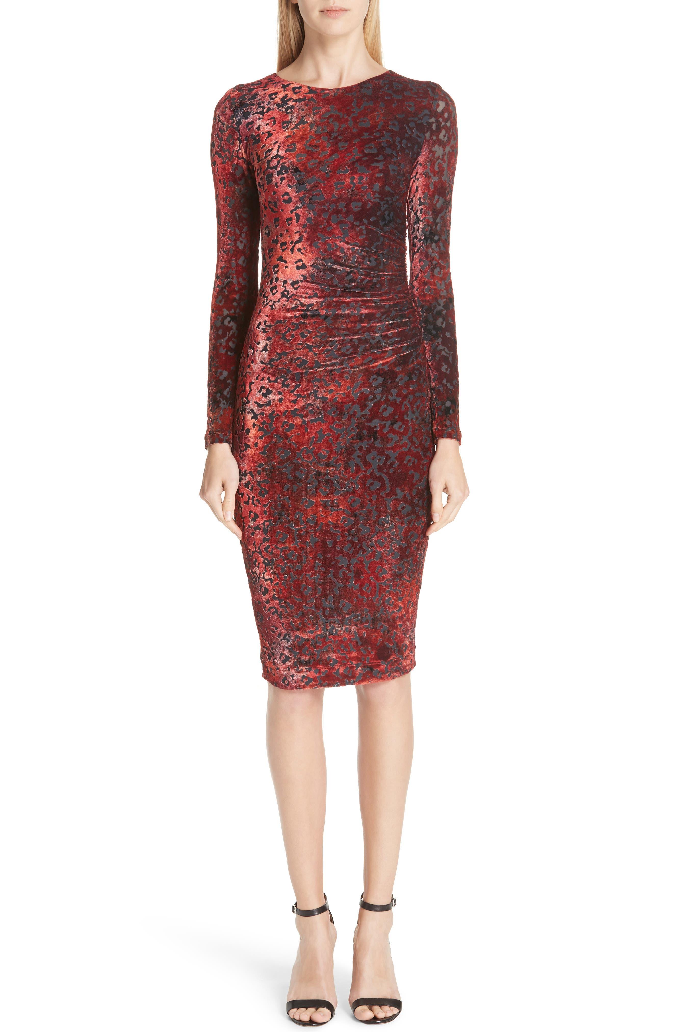 FUZZI Long-Sleeve Leopard Animal-Pattern Velvet Cocktail Dress in Rosso
