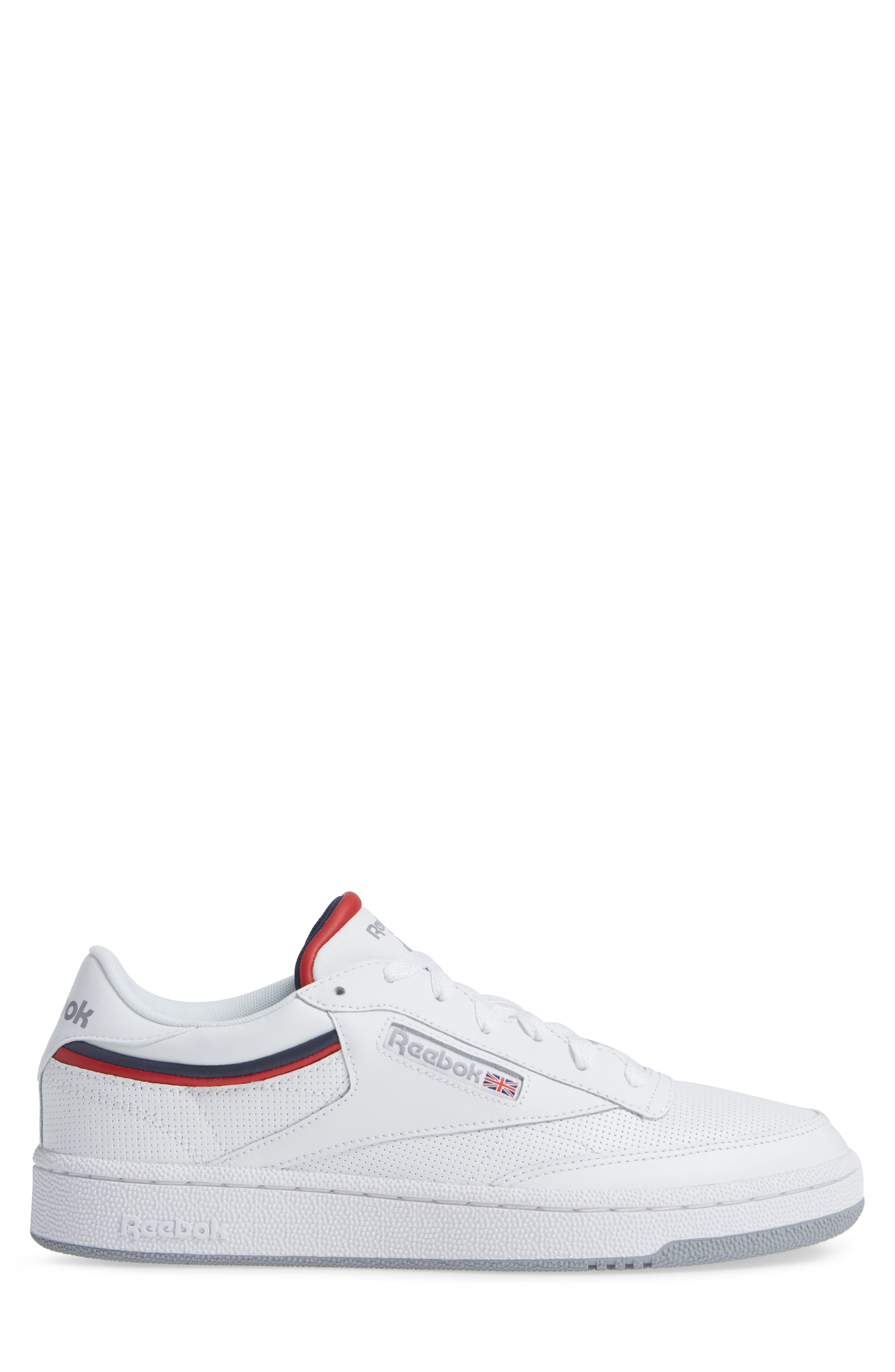 Club C 85 Sneaker,                             Alternate thumbnail 3, color,                             WHITE/ COLLEGIATE NAVY/ RED