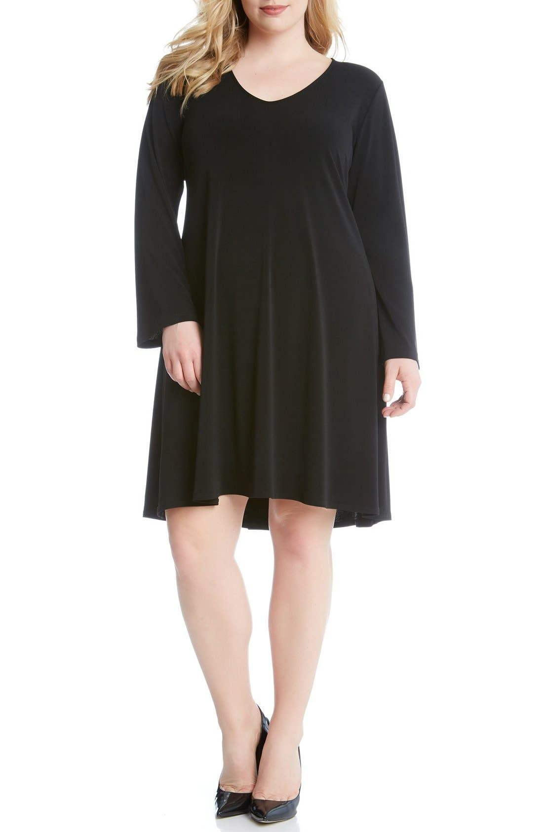 'Taylor' Long Sleeve A-Line Dress,                             Alternate thumbnail 2, color,                             001