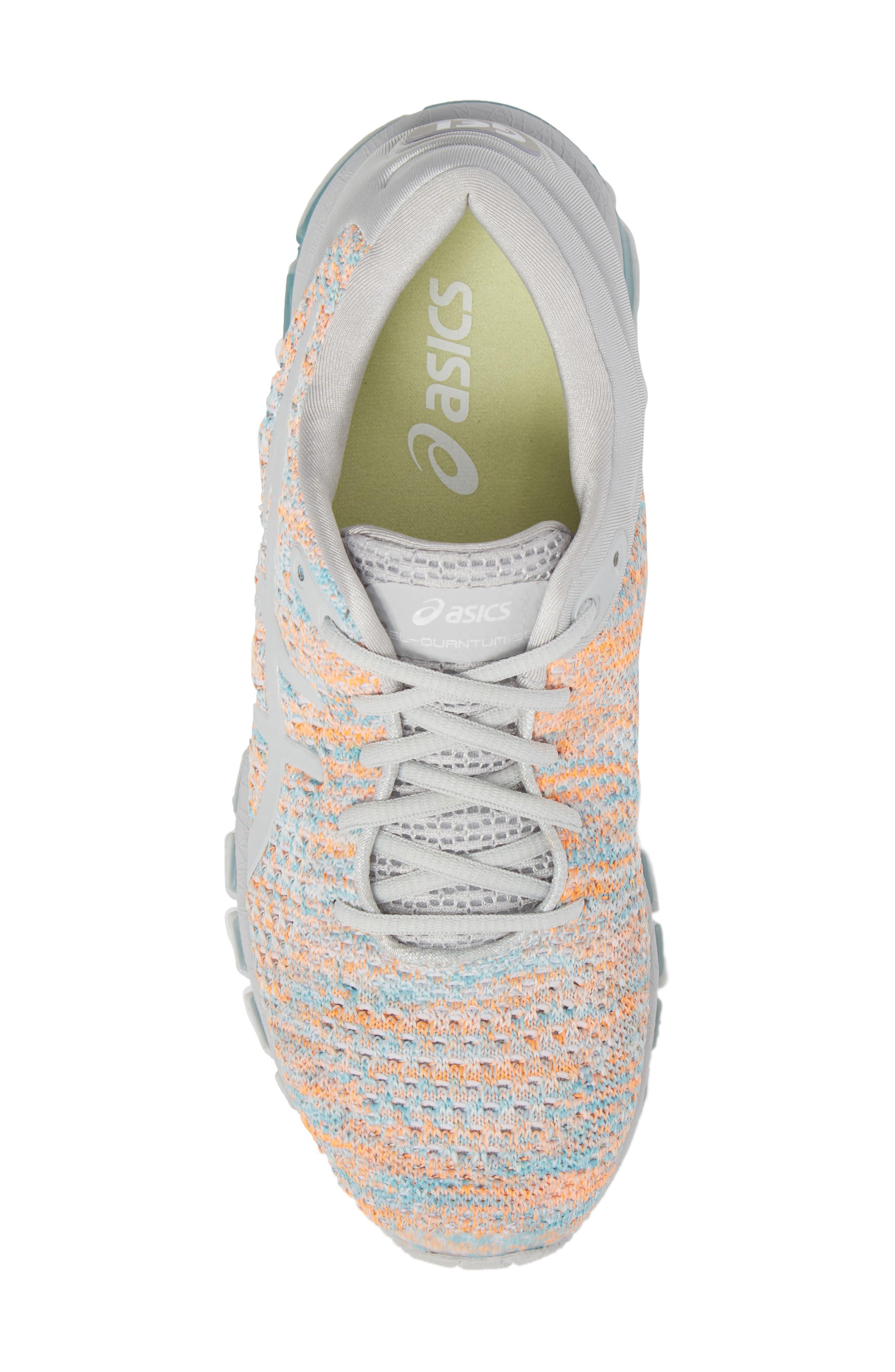 GEL-Quantum 360 Running Shoe,                             Alternate thumbnail 5, color,                             GLACIER GREY/ ORANGE POP/ BLUE