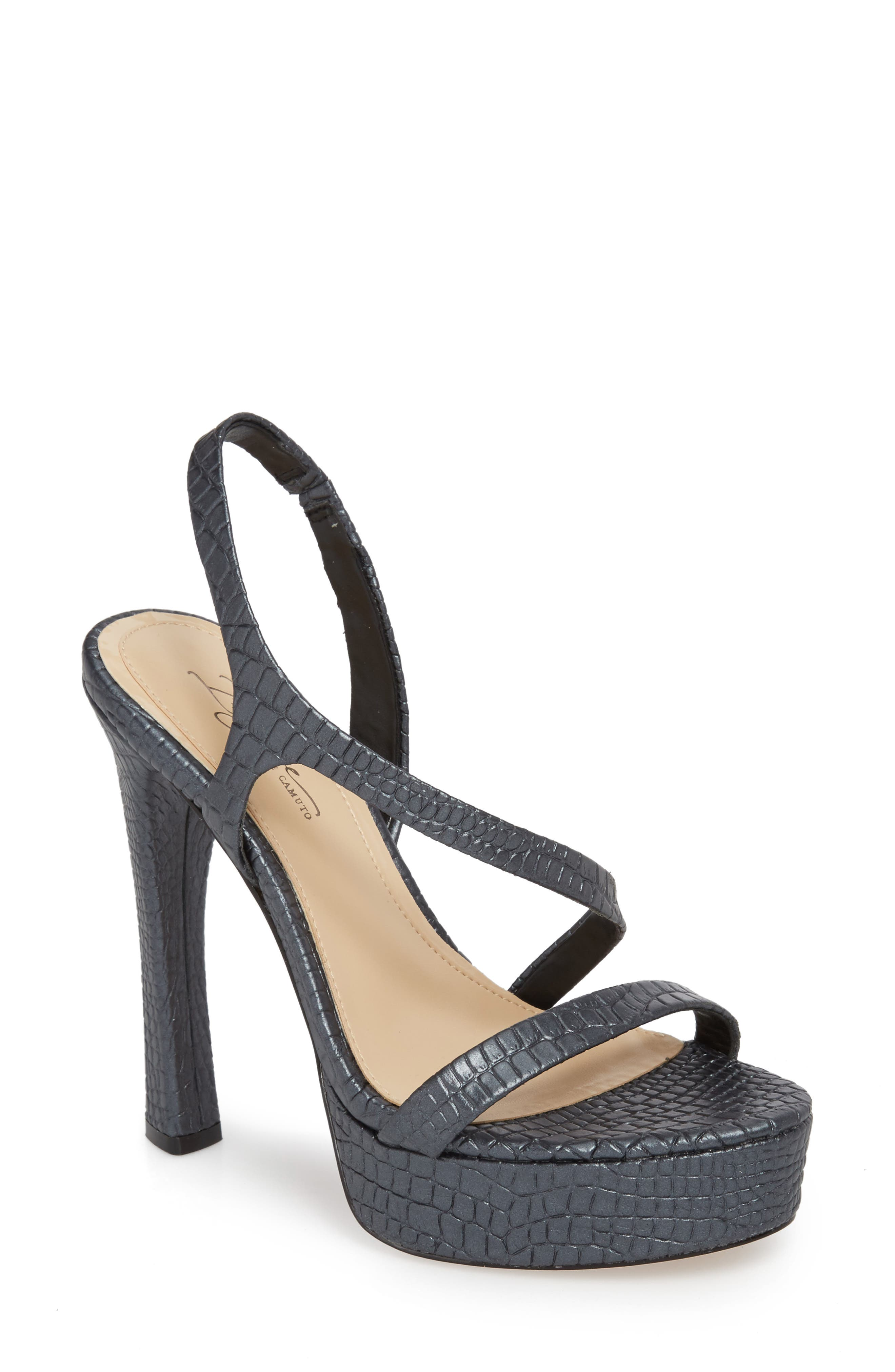 Prent Asymmetrical Platform Sandal,                         Main,                         color, BLACK LEATHER